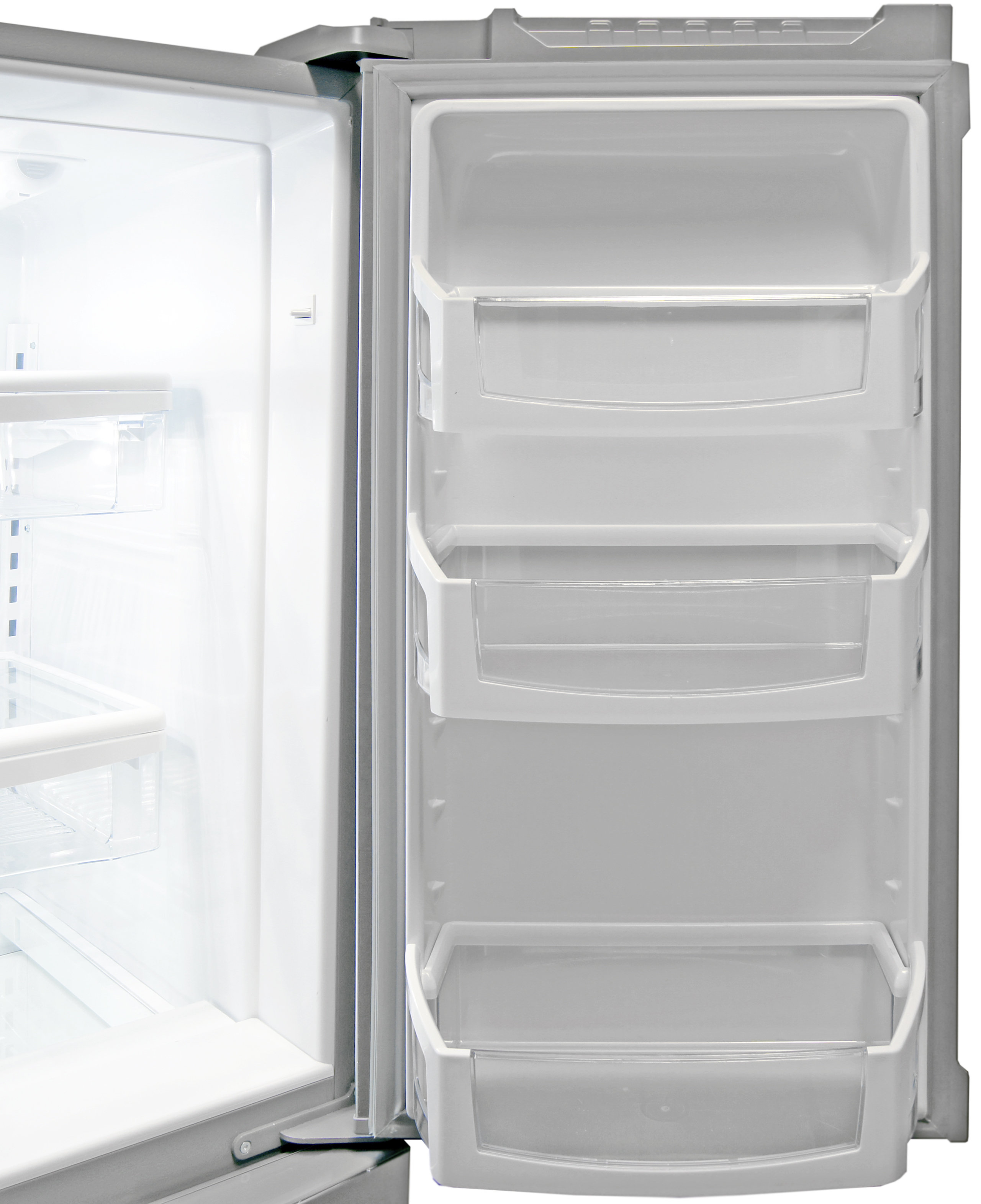 Gallon-sized bucket storage can be found on the Whirlpool WRX735SDBM's right fridge door.