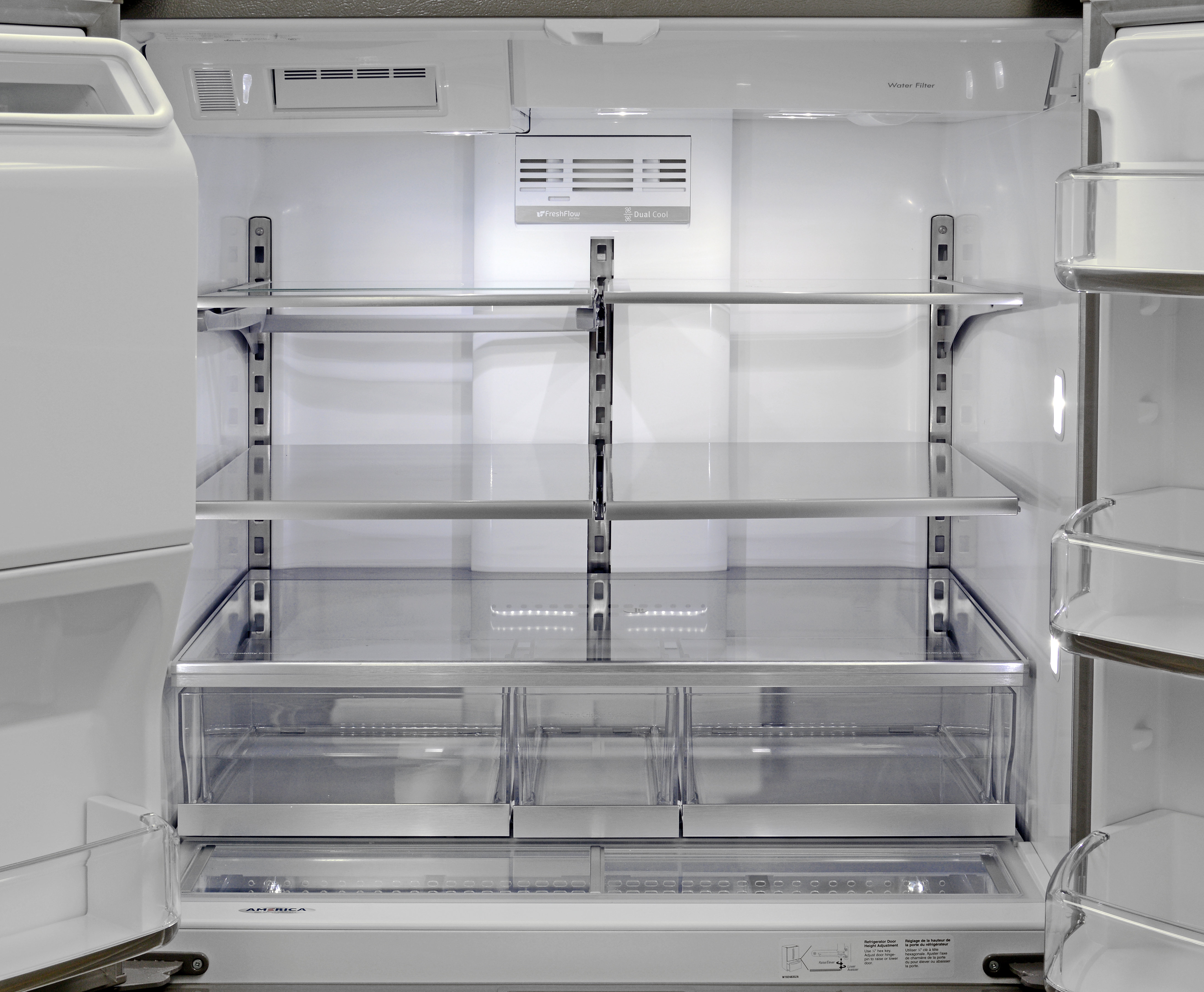 The Maytag MFX2876DRM's main fridge compartment looks great and has plenty of adjustable storage options.