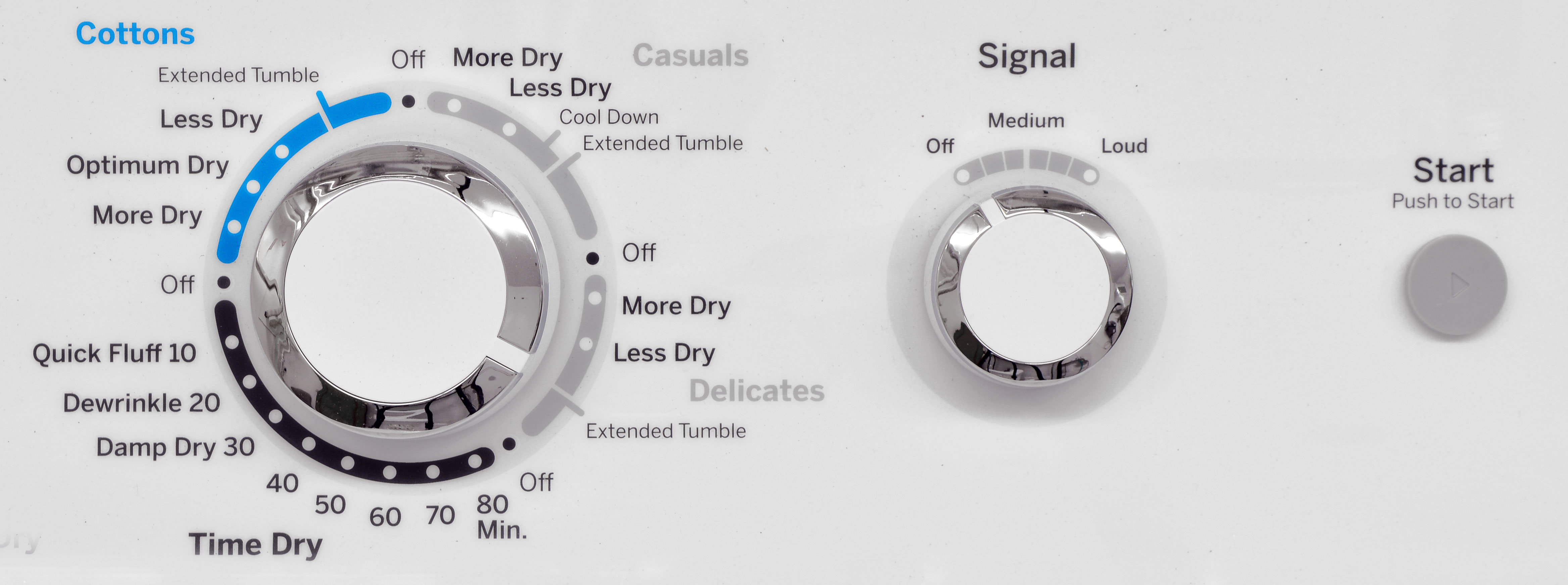 The GE GTD42EASJWW's cycle knob looks convoluted, but it's really just four basic options.