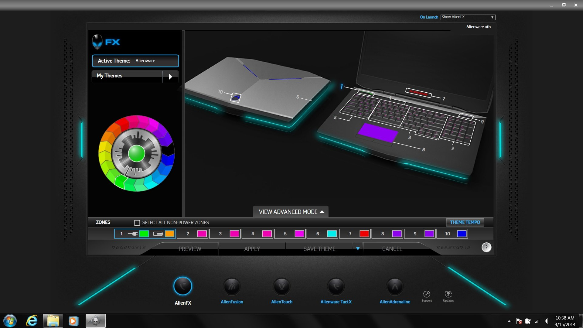 AlienFX is where you change the colors of the Alienware 17's lights.