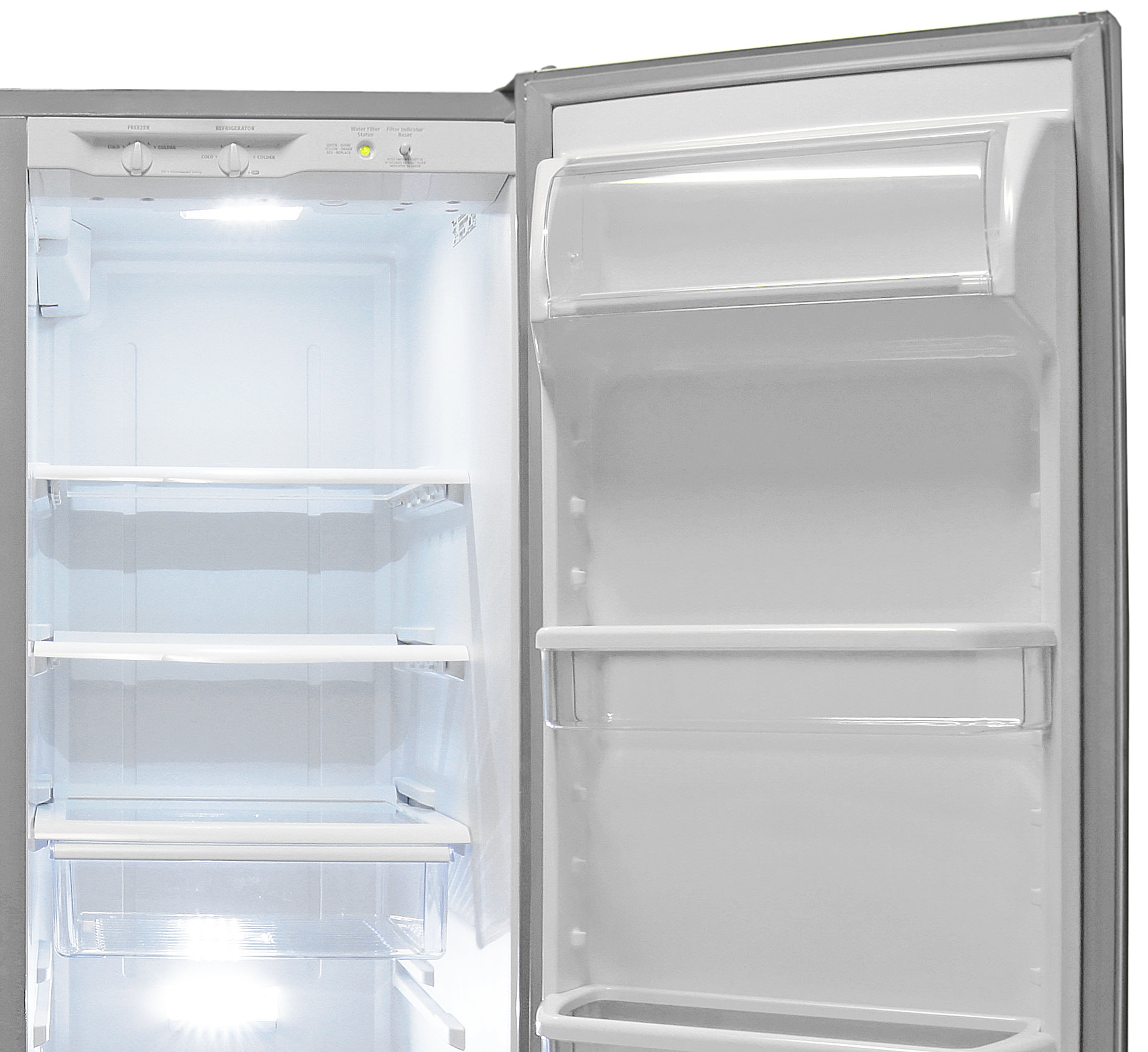 The top of the Whirlpool WRS325FDAM's fridge has plenty of storage for even taller groceries.