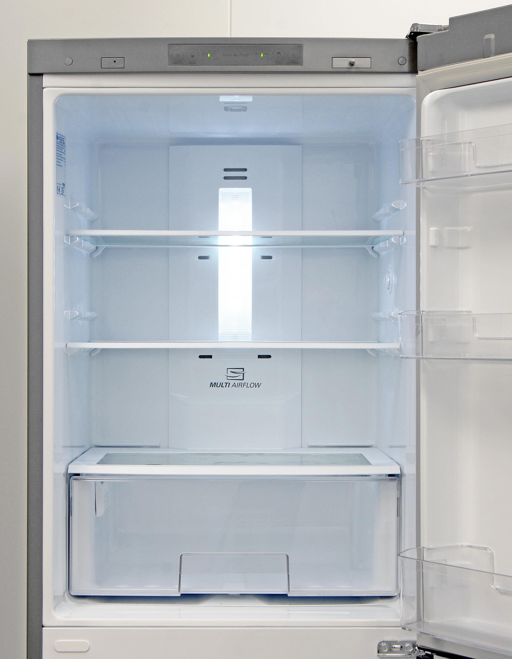 Several adjustable shelves provide varied fresh food storage in the LG LBN10551PV's fridge.