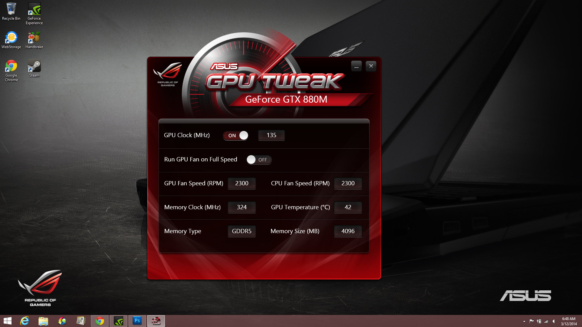 Asus' GPU Tweak software