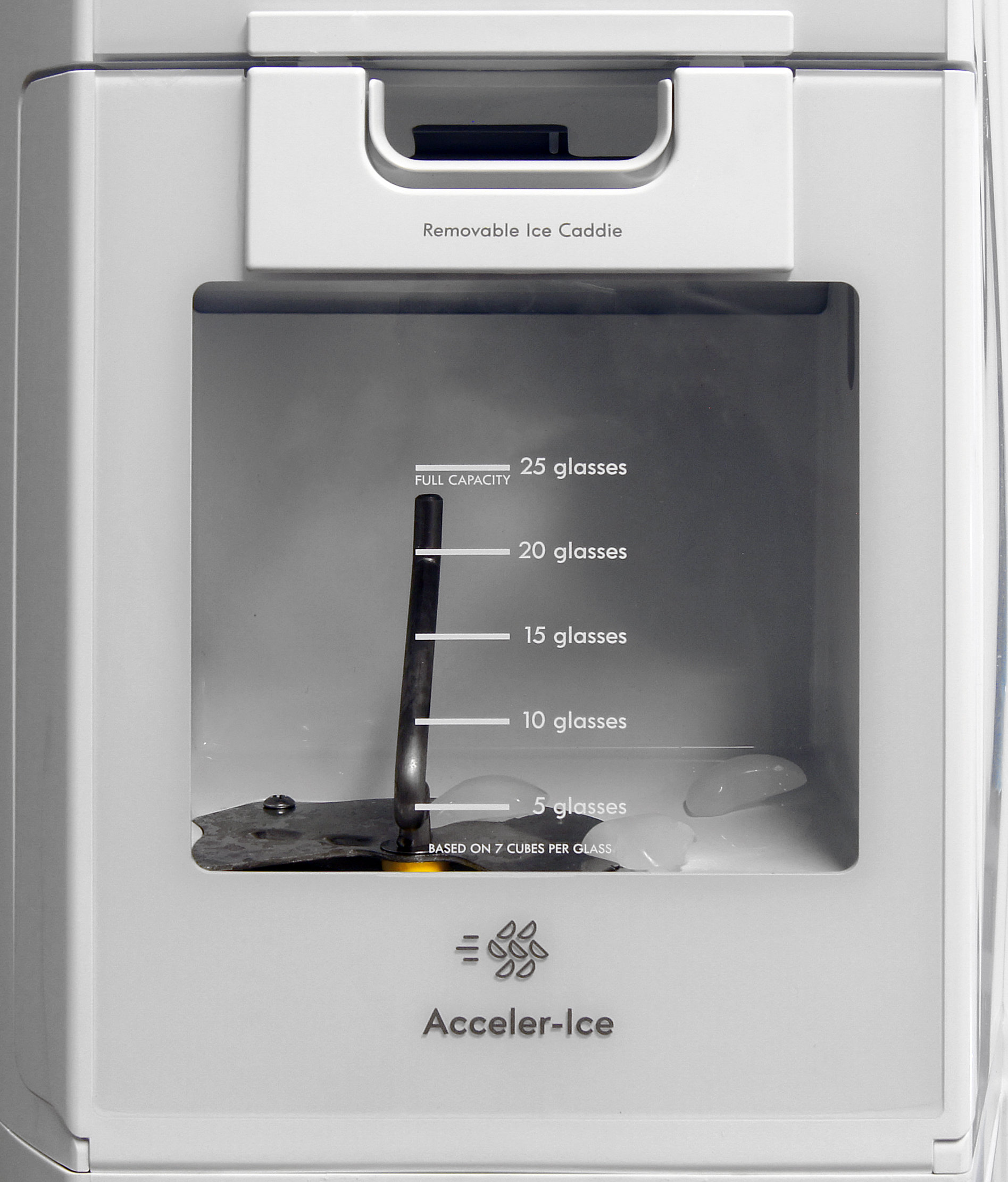 The design of the Kenmore Elite 51162's icemaker is fairly standard for this sort of model, and is quite easy to remove for bulk ice access.