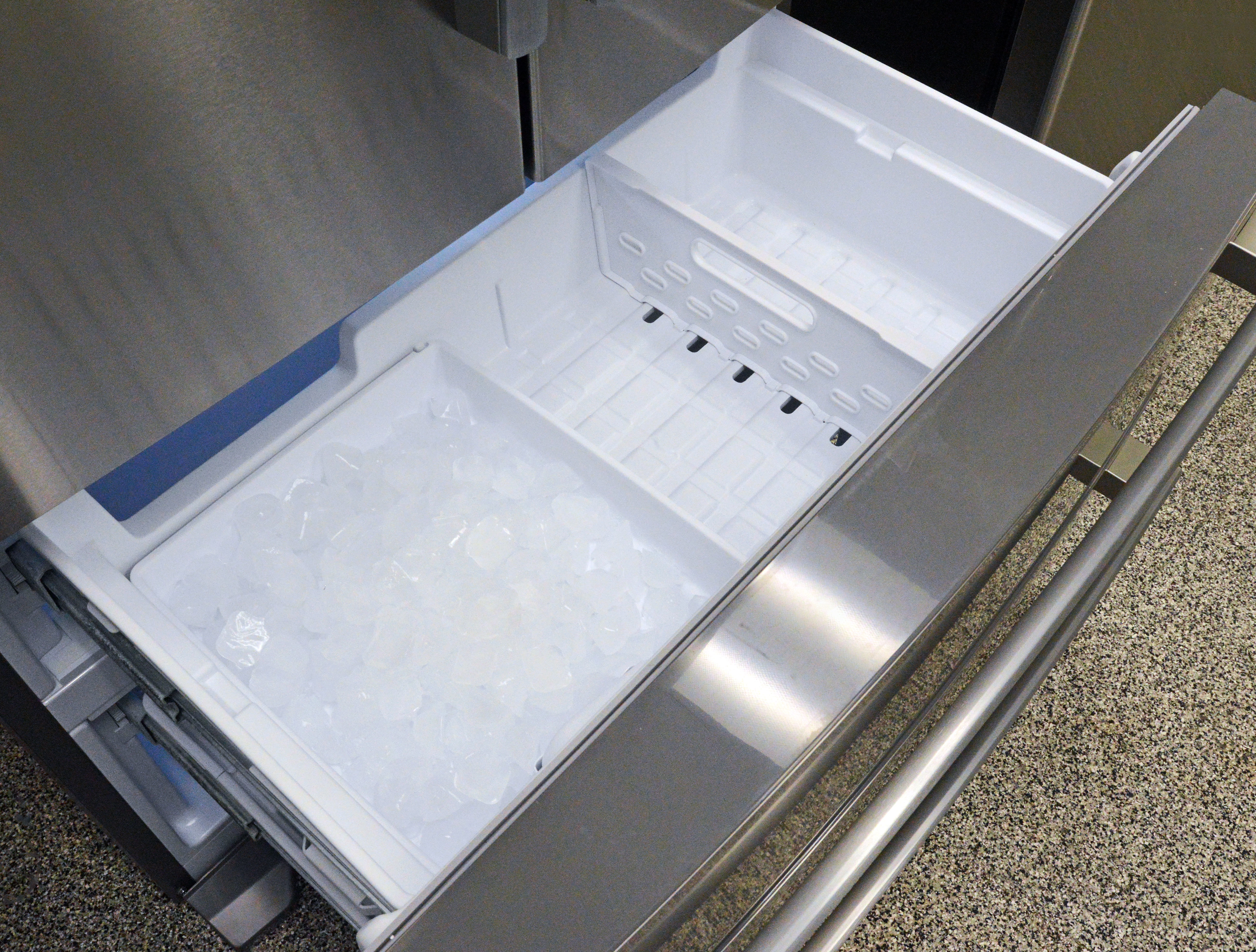 The upper freezer doesn't have a ton of room, especially if you intend to use the ice maker and its wide bucket.