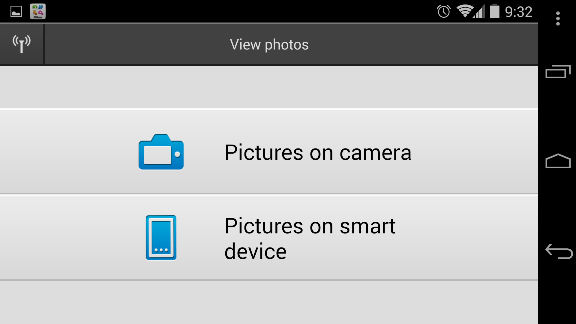 A screenshot of the Nikon 1 J4's photo menu screen in the Wireless Mobile Utility app.