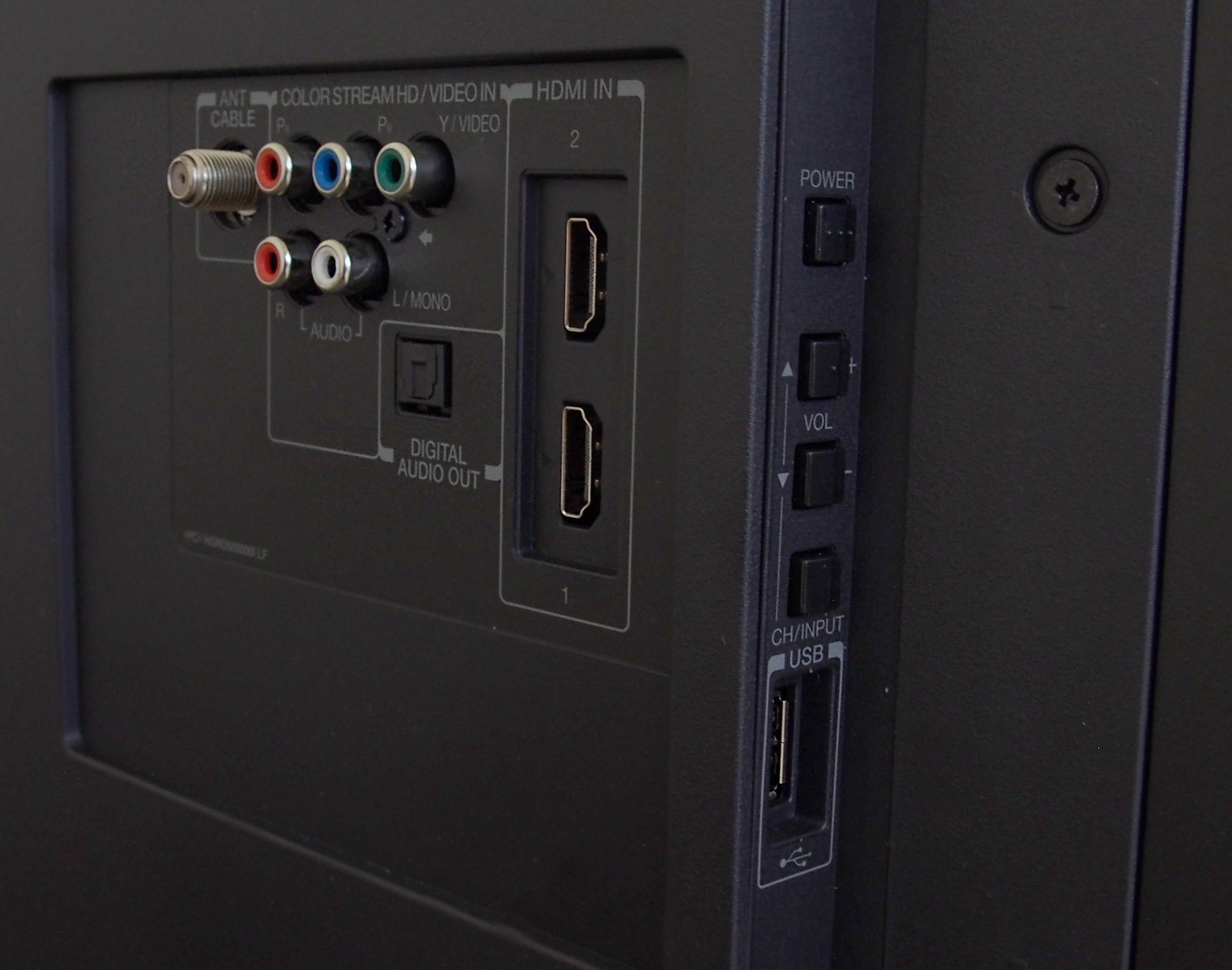 The 50L1400U has manual controls and a USB port on the side.