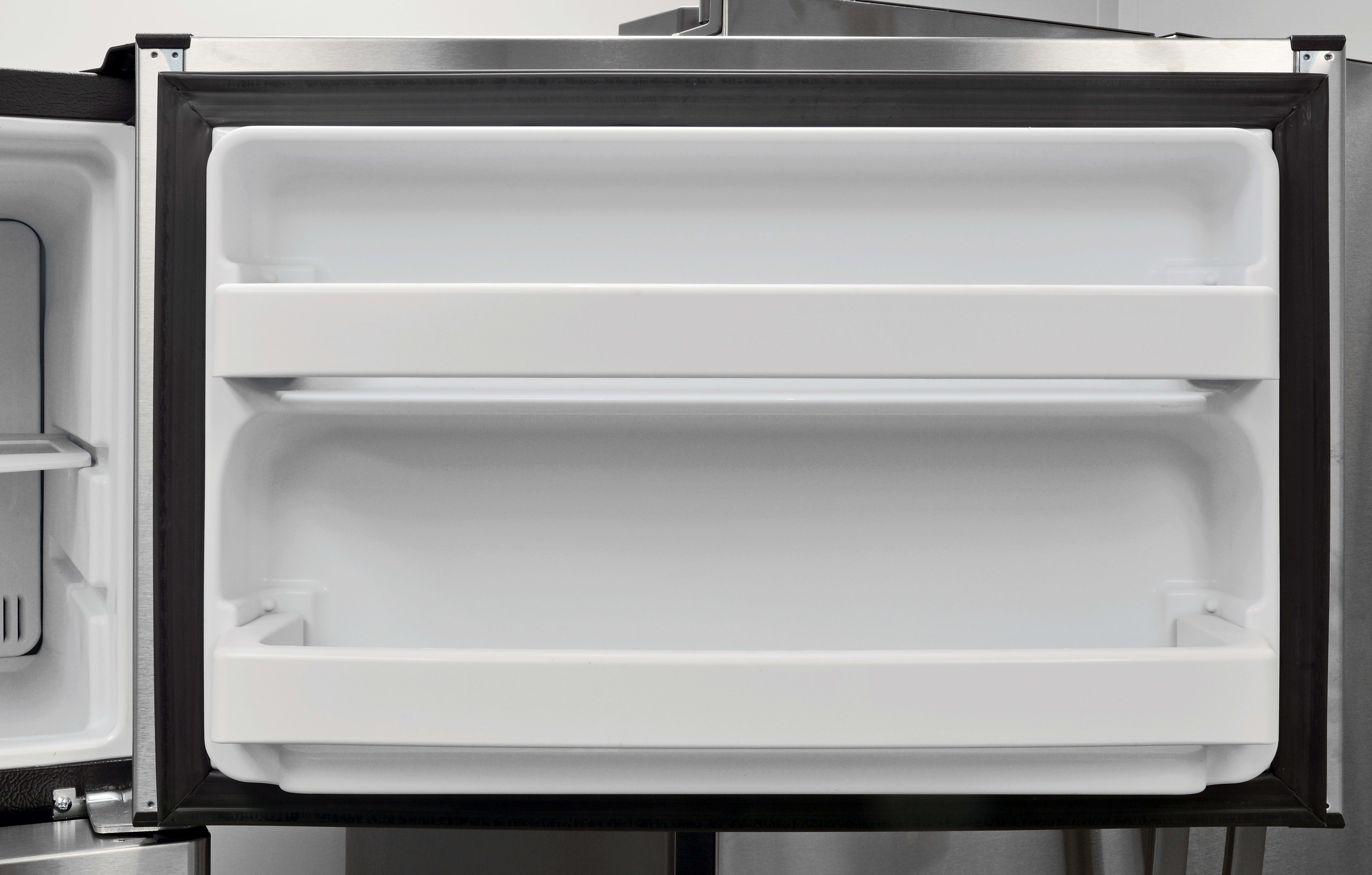 The GE GAS18P's freezer door offers some additional storage. It's fairly shallow, but should help keep track of smaller or loose items.