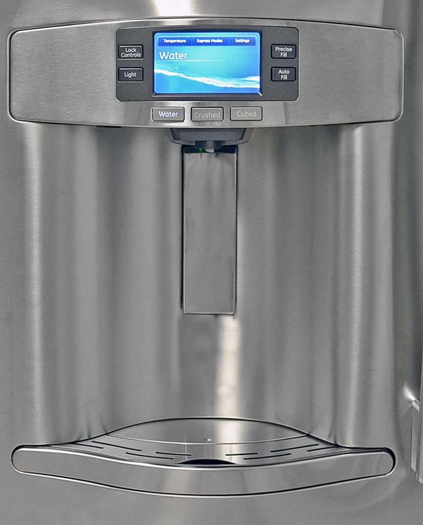 The GE Profile PFE28RSHSS's tall dispenser niche is ideal for filling anything from a standard drinking glass to a large mixing bowl with ice or water.