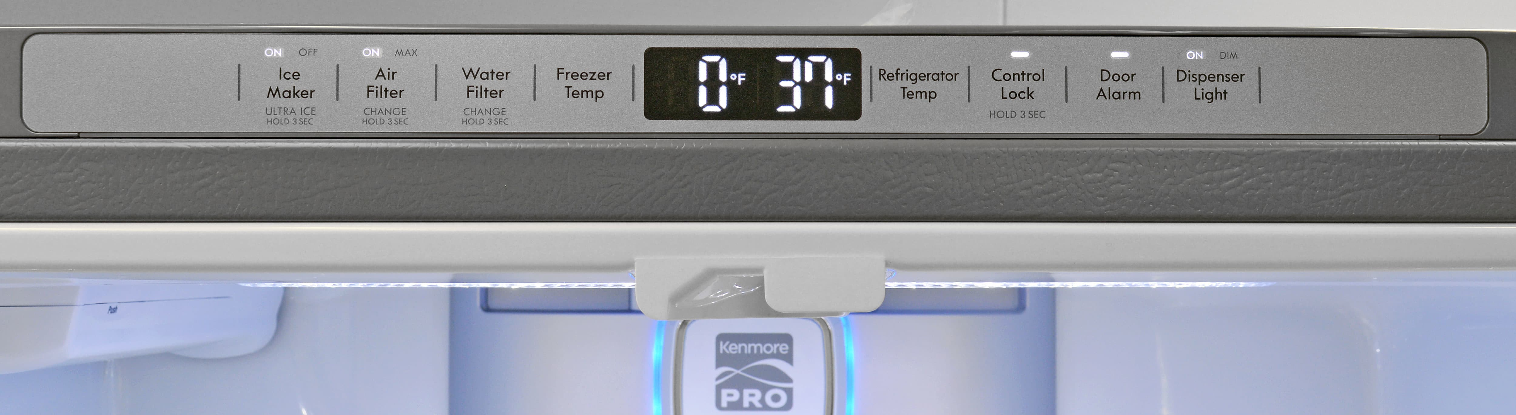 Almost all of the Kenmore Pro 79993's controls are found along the top edge of the door frame instead of on the front of the fridge.