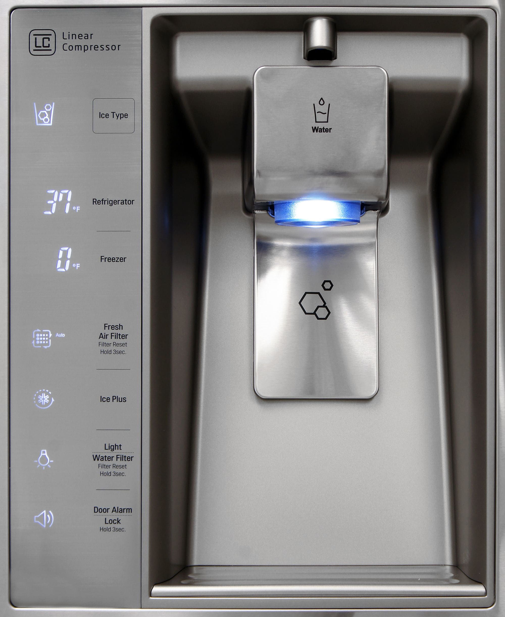 You can place your cup in the LG LMXS30776S's dispenser niche for ice, but you have to hold it when dispensing water.
