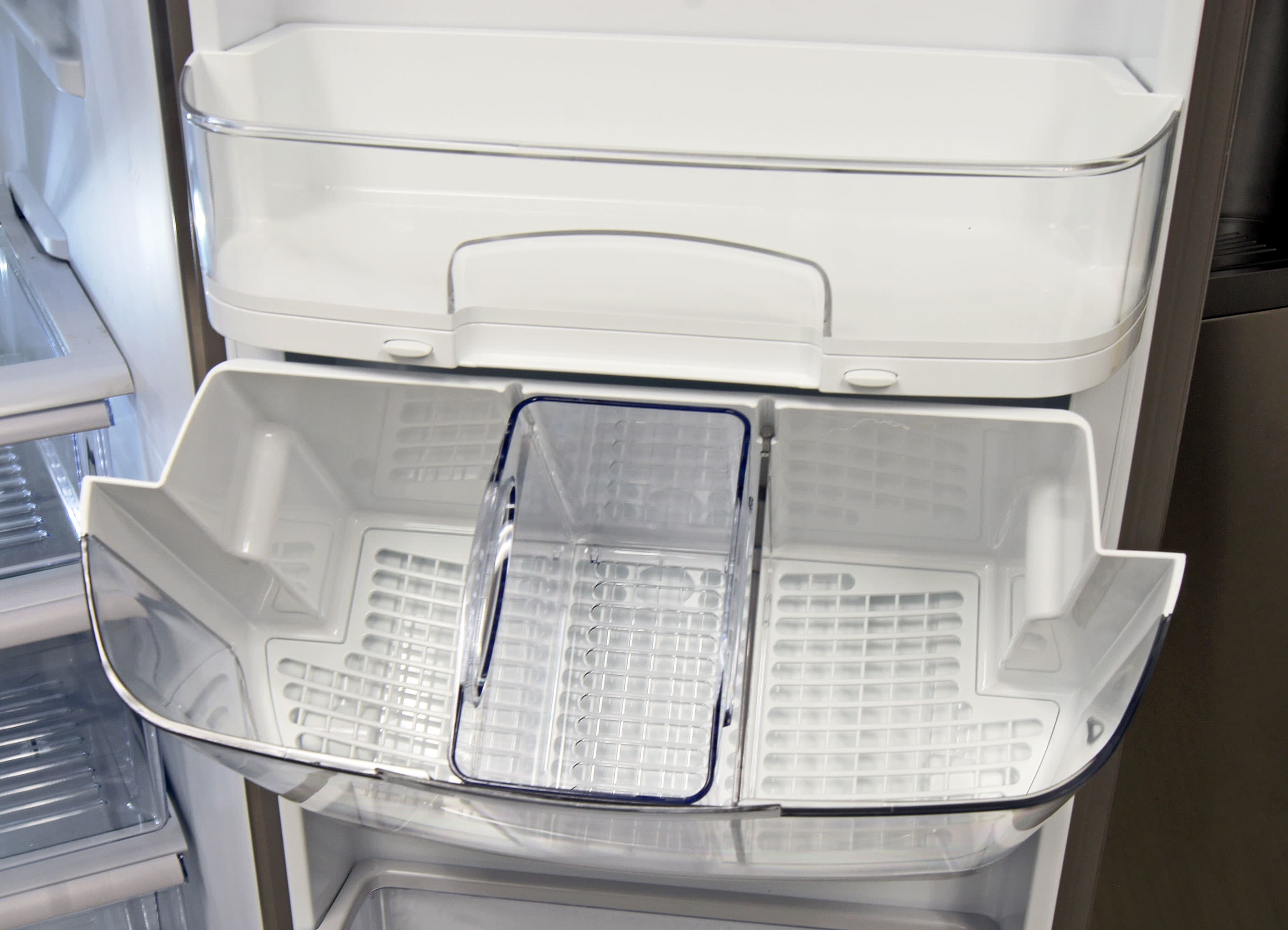 The KitchenAid KSF22C4CYY's special door compartment flips forward for easy access.