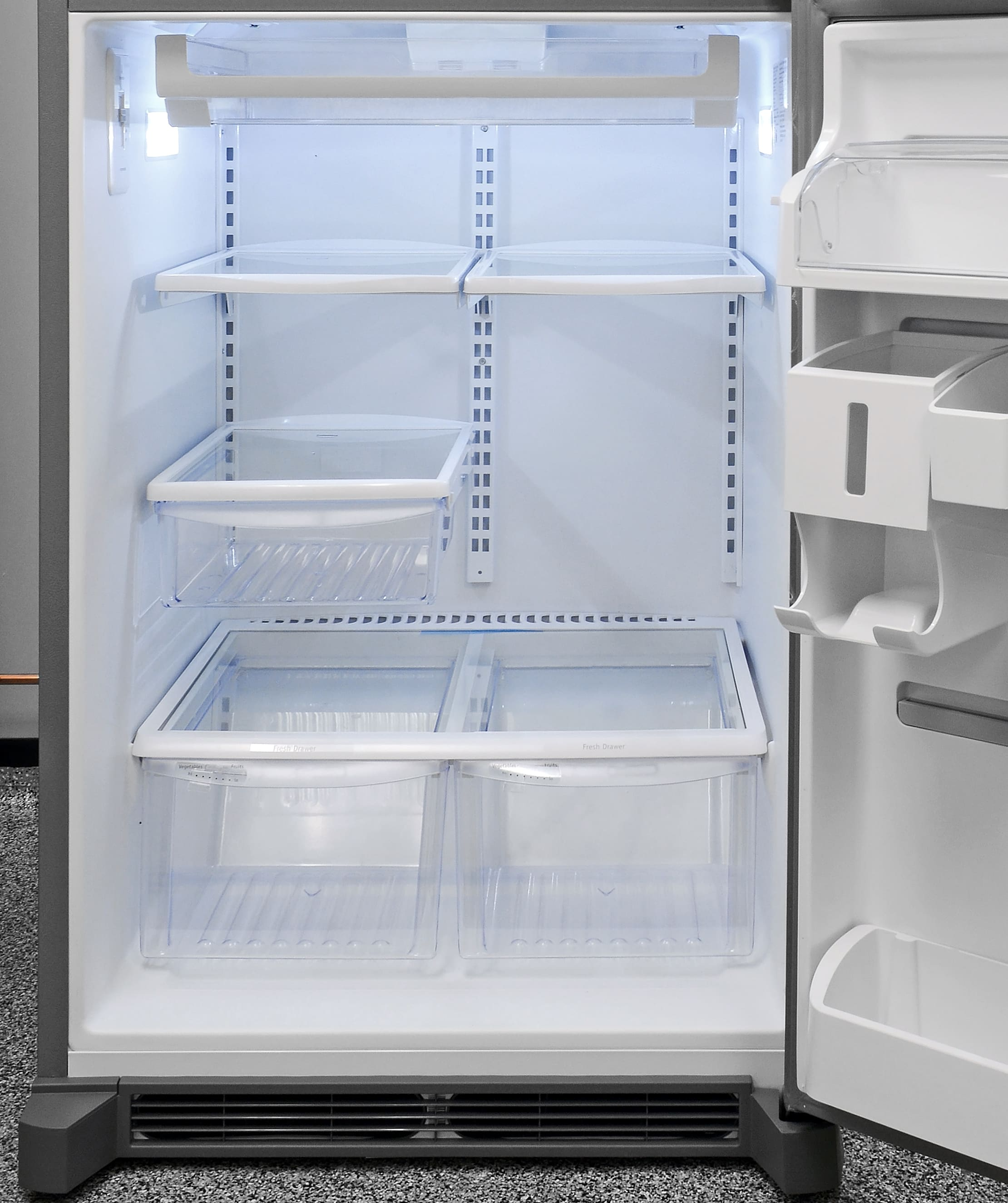 The Frigidaire Gallery FGHI2164QF's half-width shelves are easy to adjust and offer plenty of customizable storage.