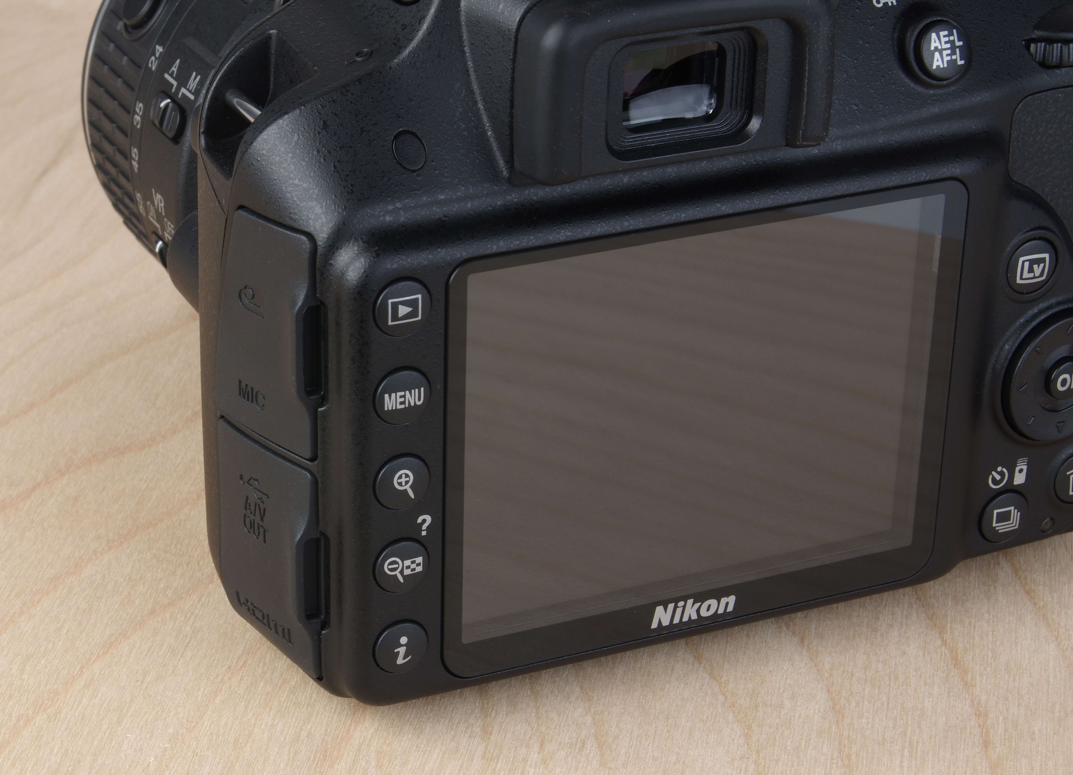 A picture of the Nikon D3300's rear controls.
