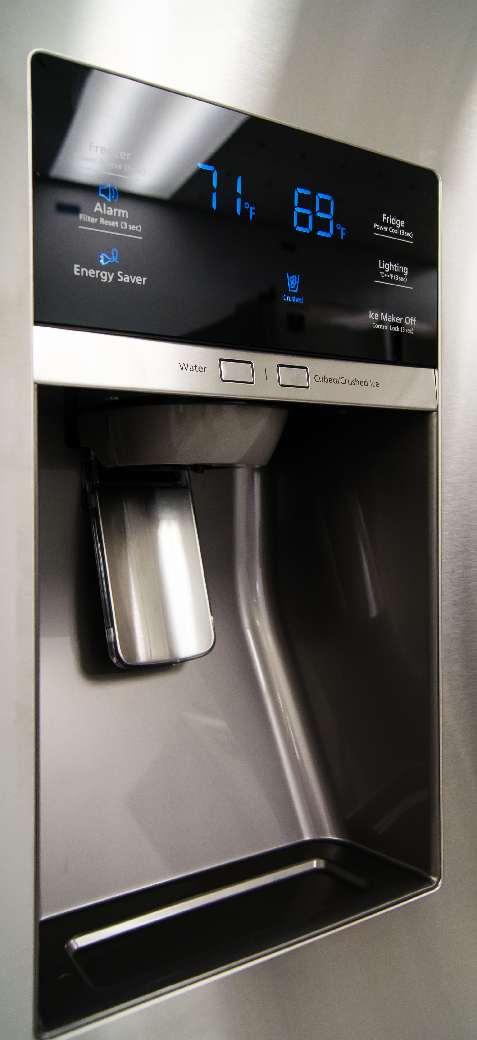 The Samsung RF28HDEDBSR's through-the-door dispenser can comfortably accommodate a standard drinking glass.