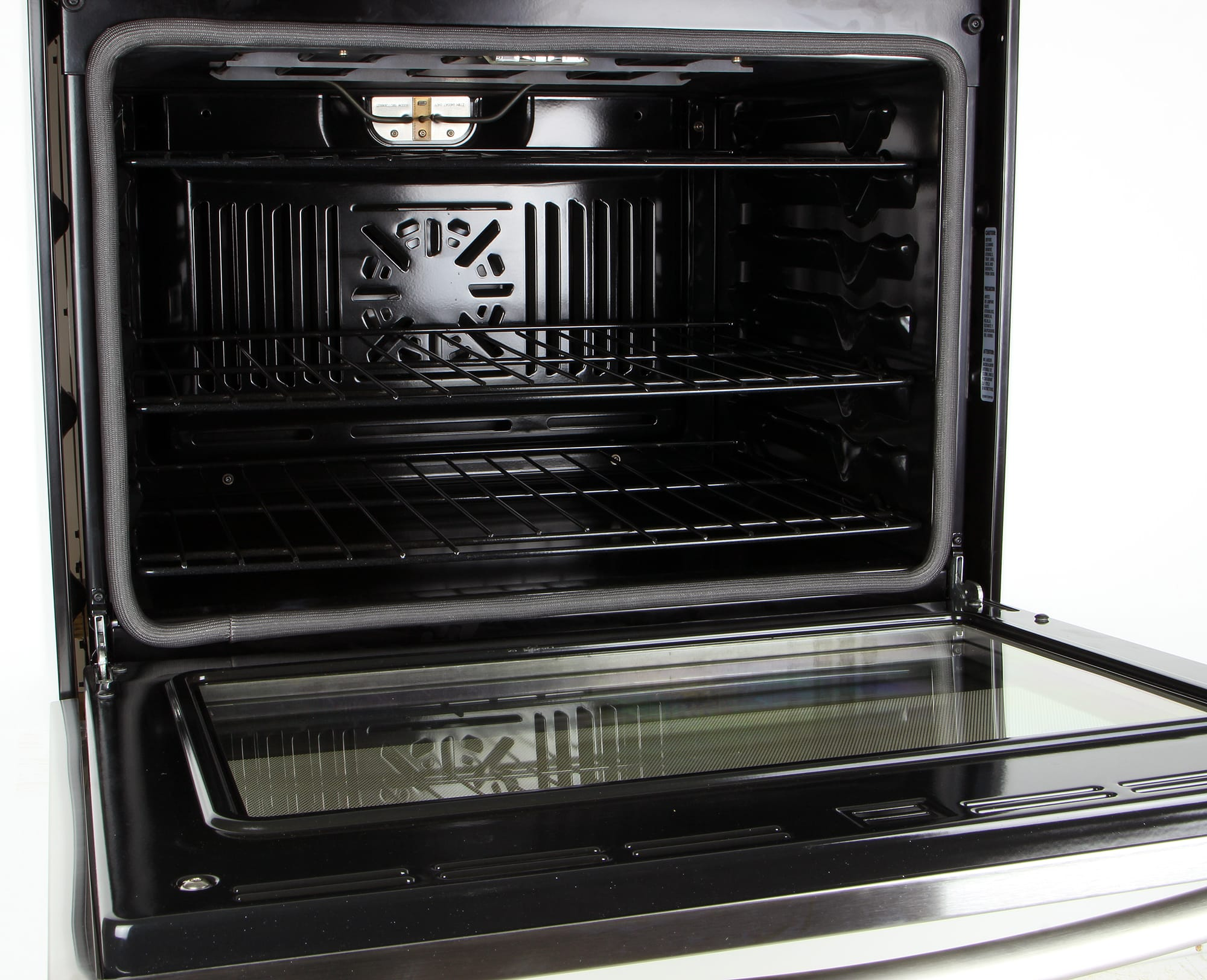 The GE JT5000SFSS has a 5.0-cubic-foot capacity cavity which should suffice for most of your cooking needs.