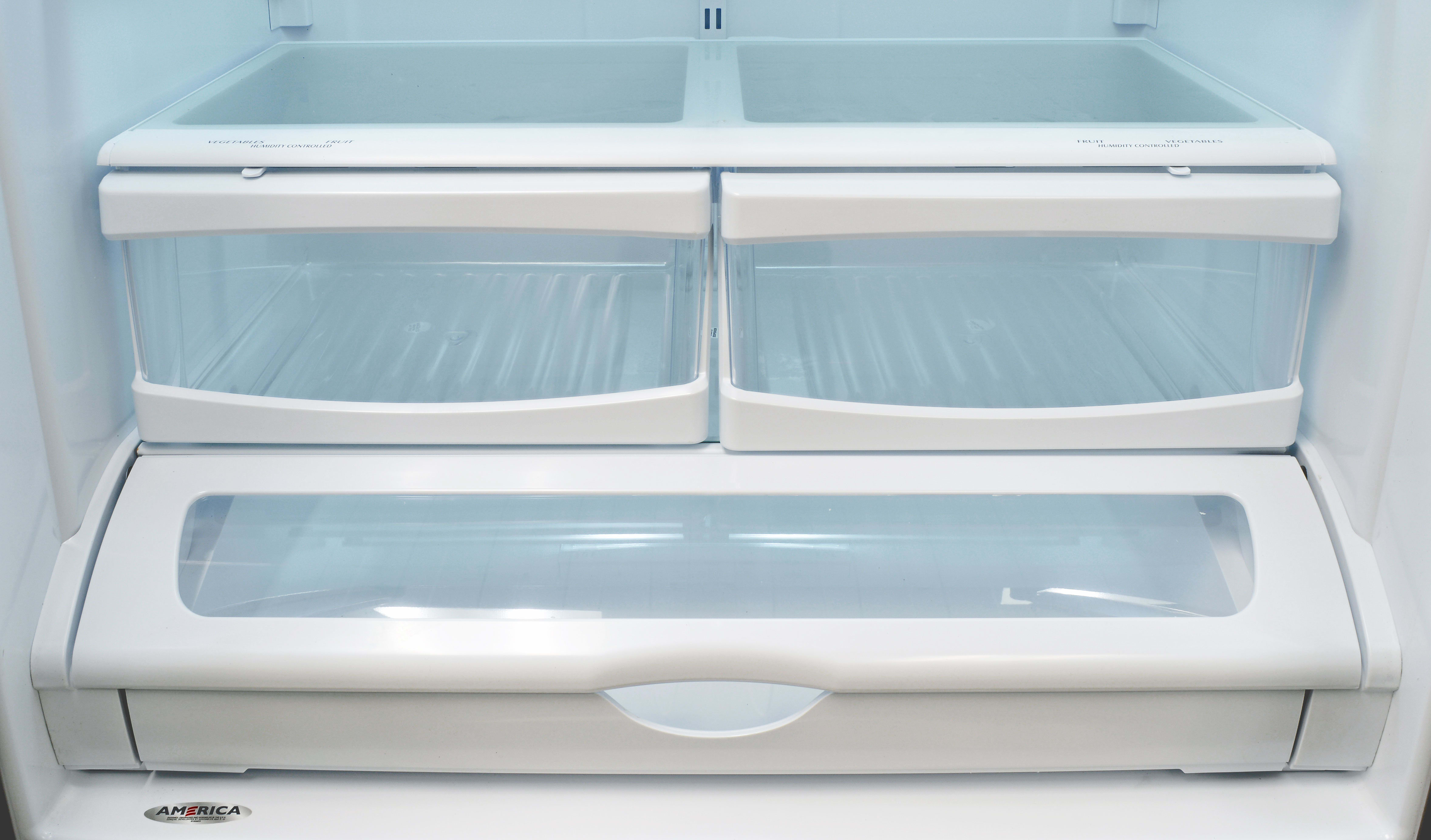 The Whirlpool WRF535SMBM's crispers are unexpectedly smooth for such an affordable fridge, and highly effective, too.