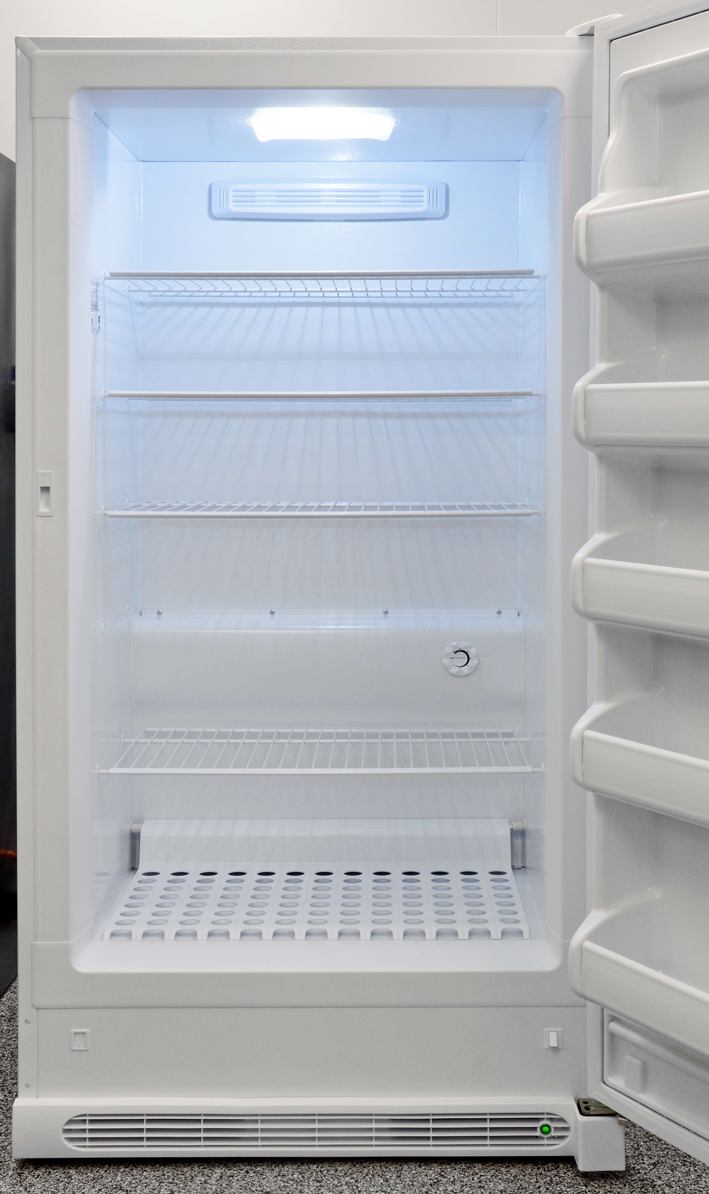 Five distinct shelving areas inside the Frigidaire FFFH17F2QW provide ample room for frozen food.
