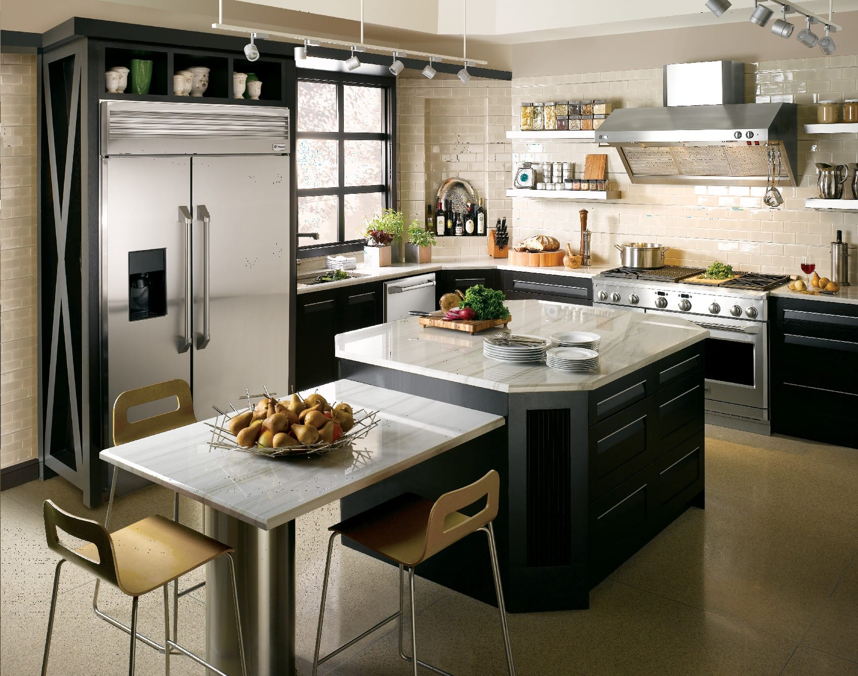 A condo kitchen concept with sleek Monogram appliances.