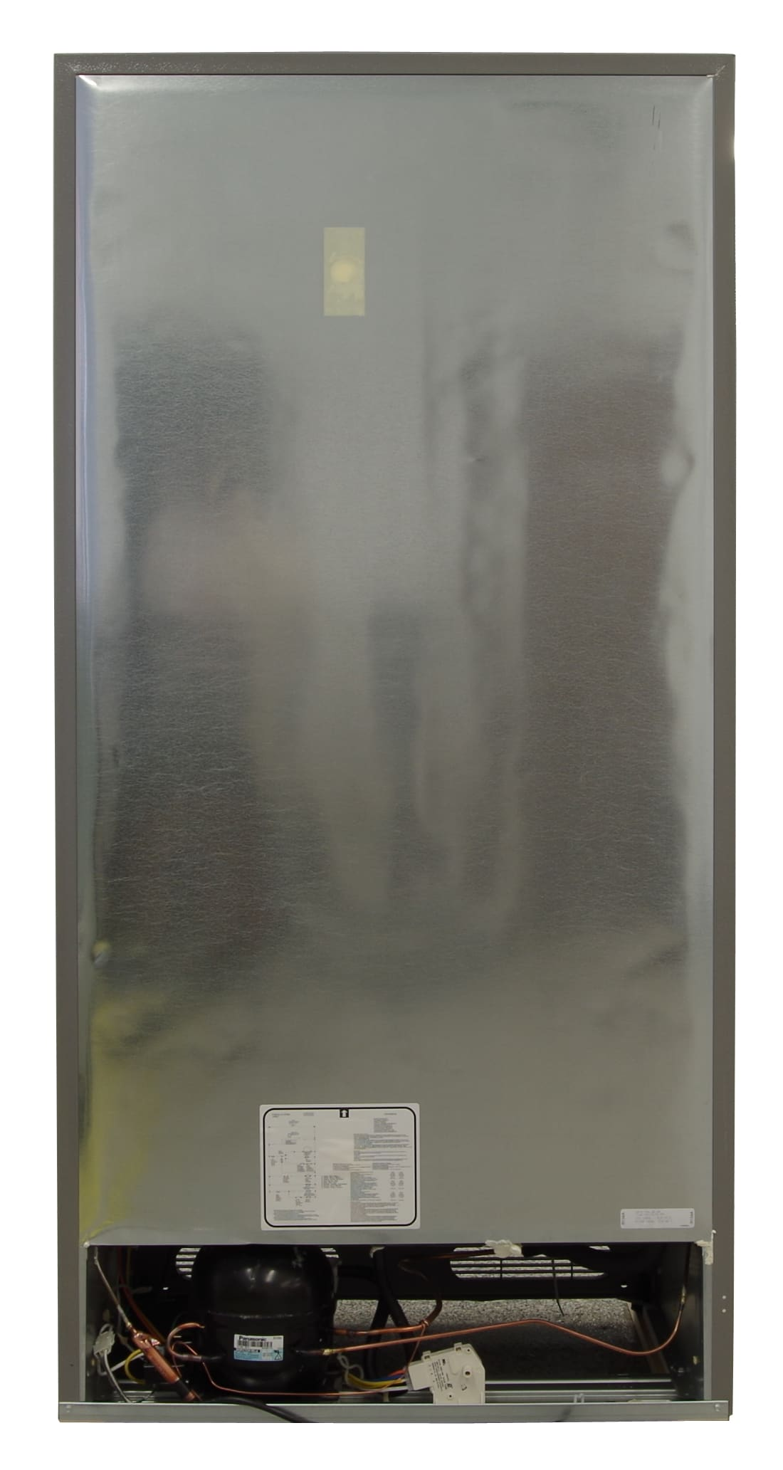 The Frigidaire FFU17F2PT has a typical metal back which—like most uprights—leaves the lower section exposed.