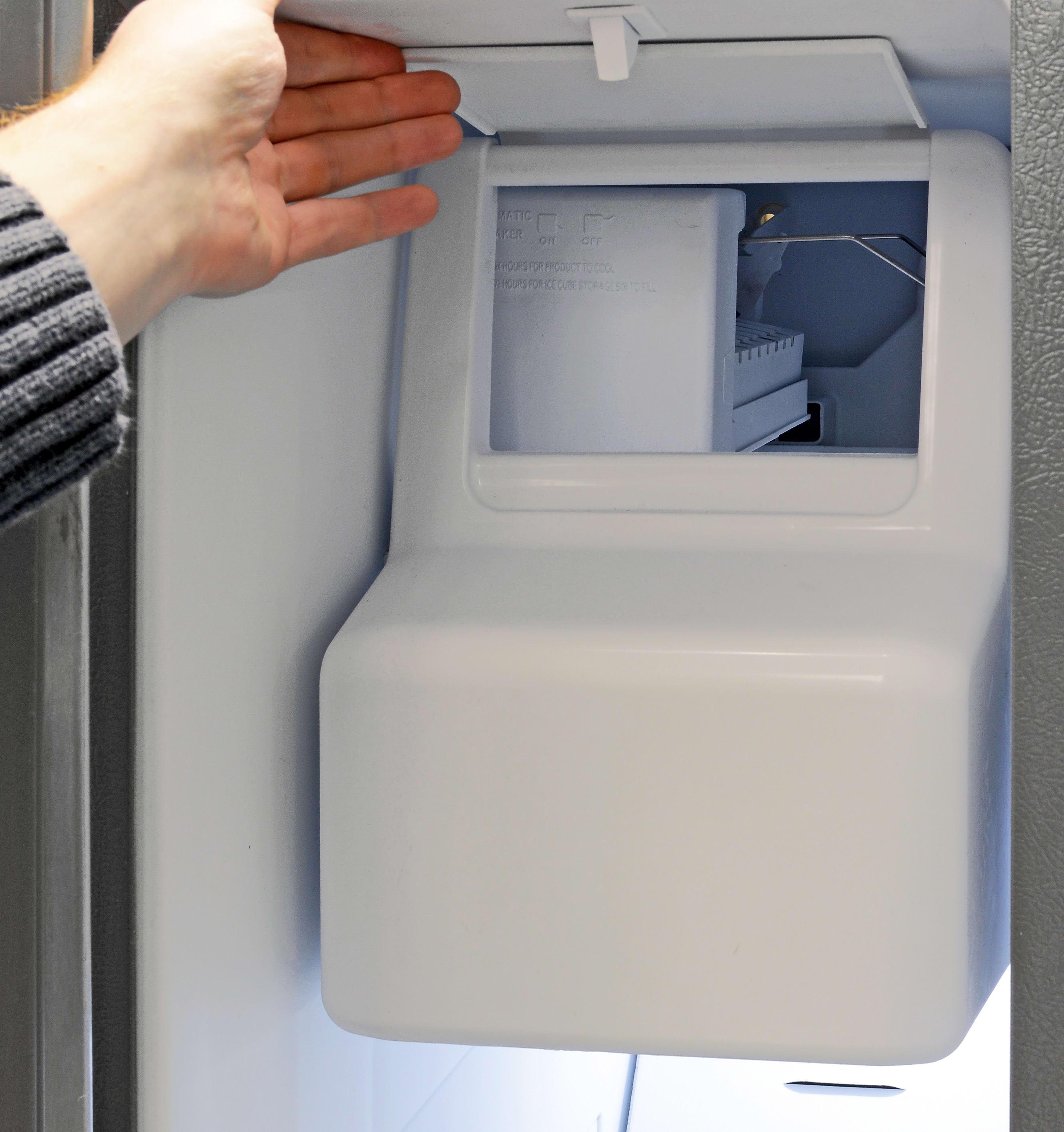 The Maytag MSF21D4MDM's large icemaker comes with a flap in front for easy access.