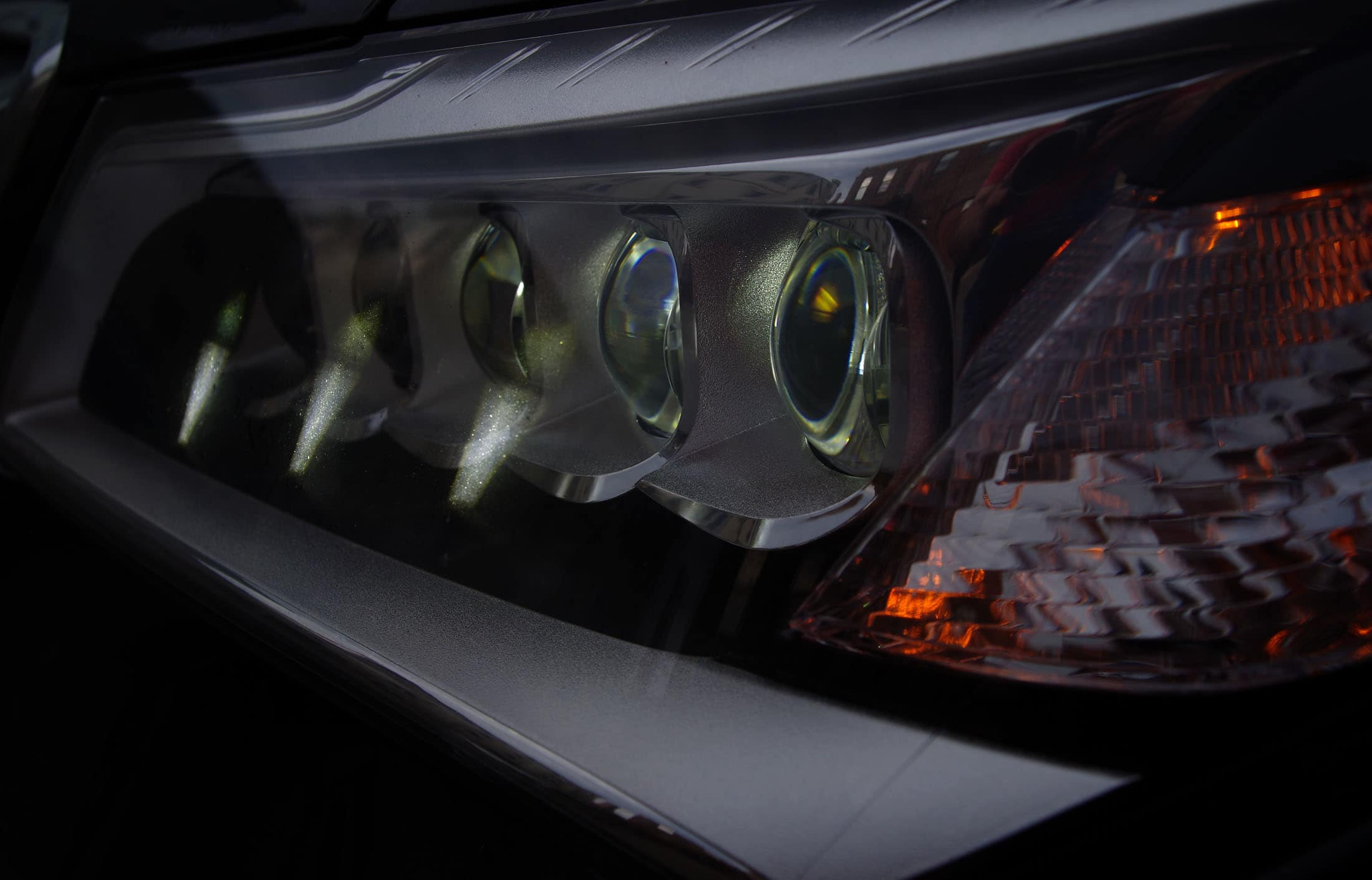 "The 2014 Acura MDX's LED ""Jewel Eye"" headlights."