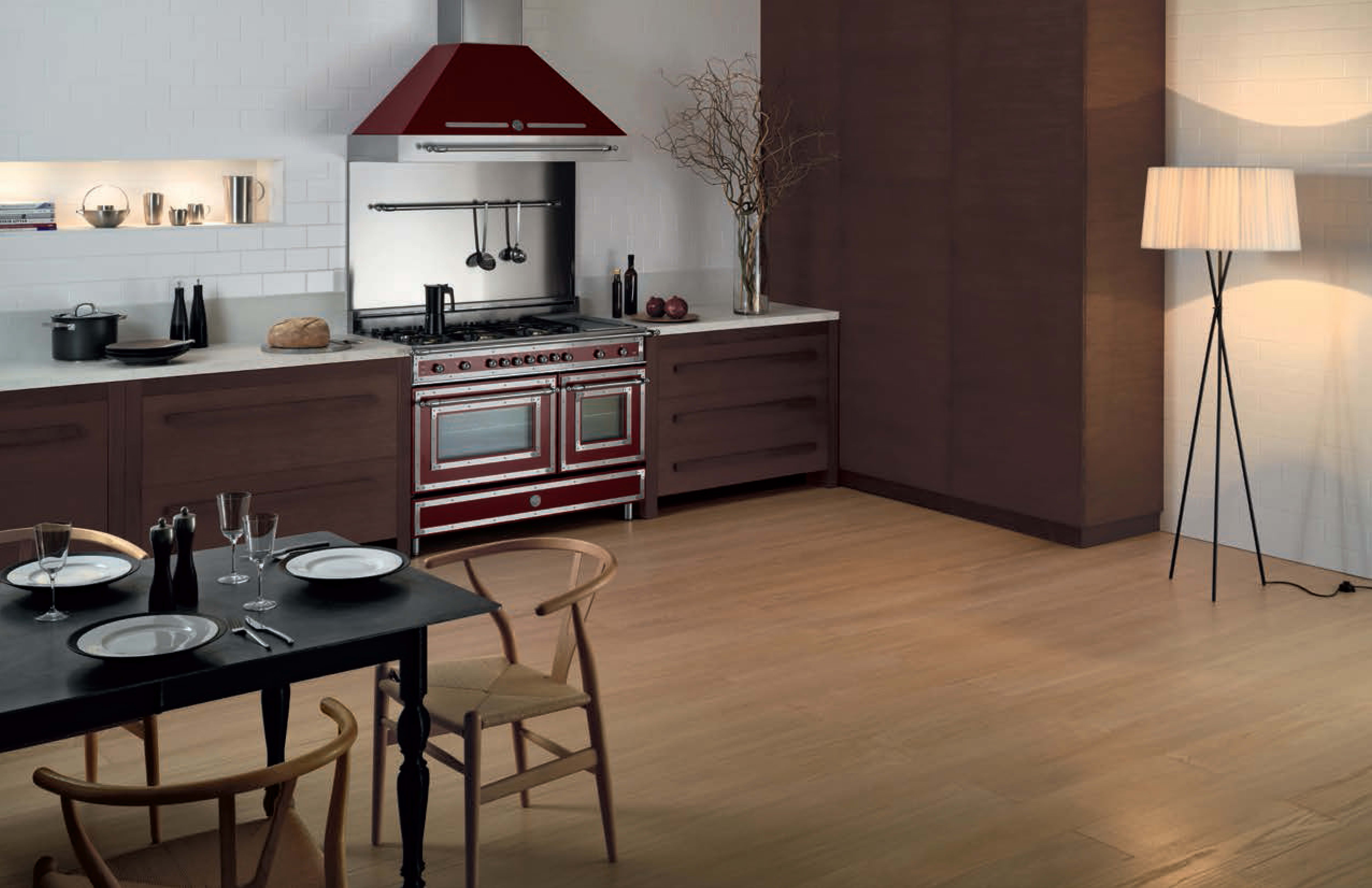Bertazzoni's old-timey Heritage Series on display in this transitional kitchen.