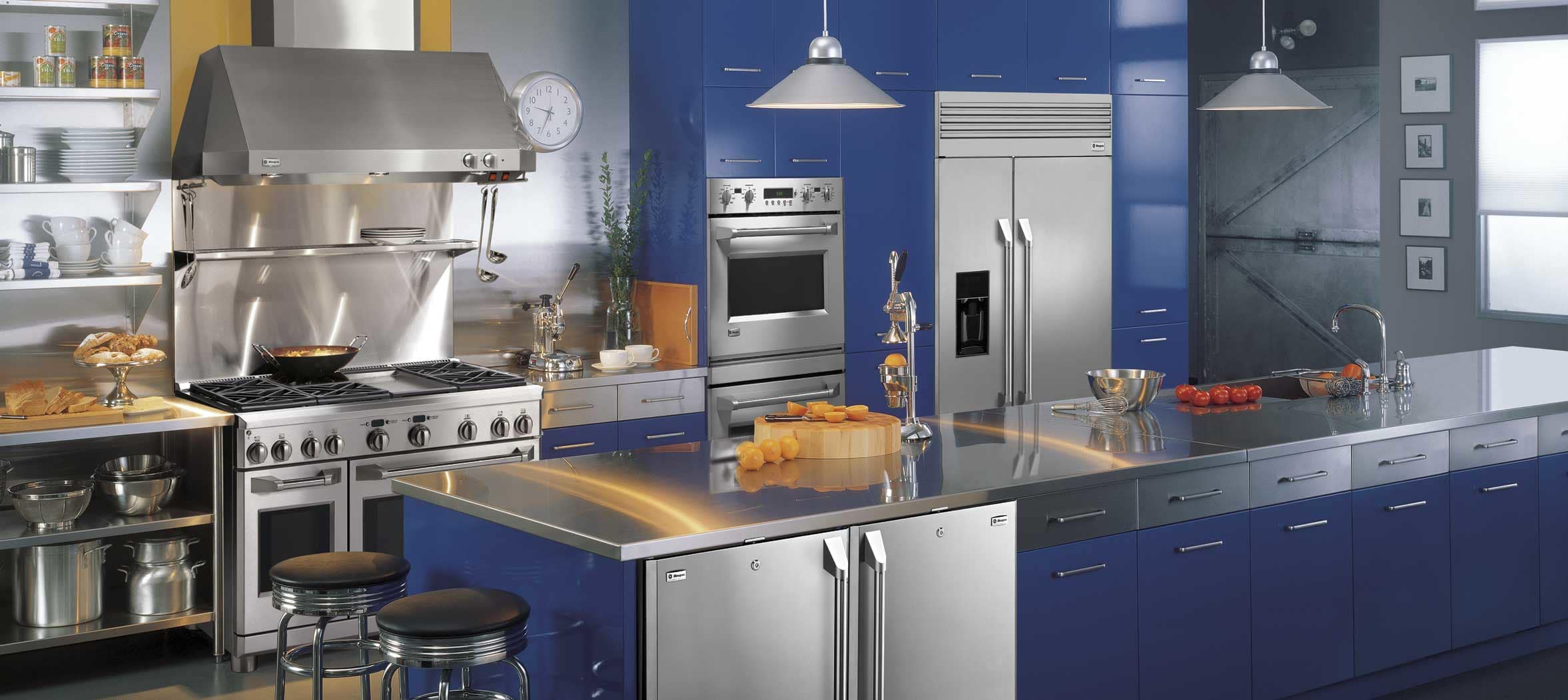 A striking blue design using GE Monogram professional appliances.