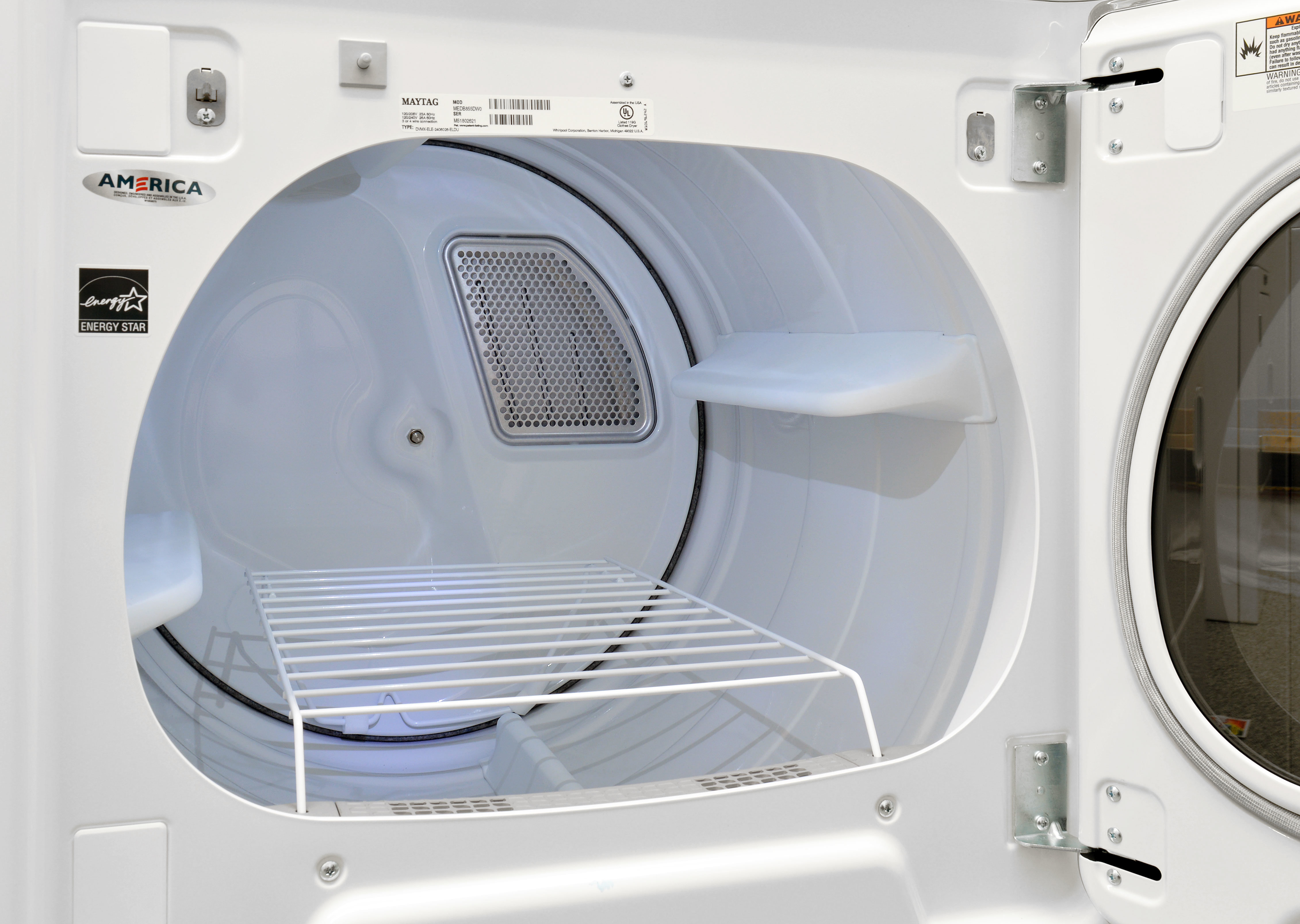 The Maytag Bravos MGDB855DW's massive 8.8-cu.-ft. drum features an internal light AND a removable drying rack.