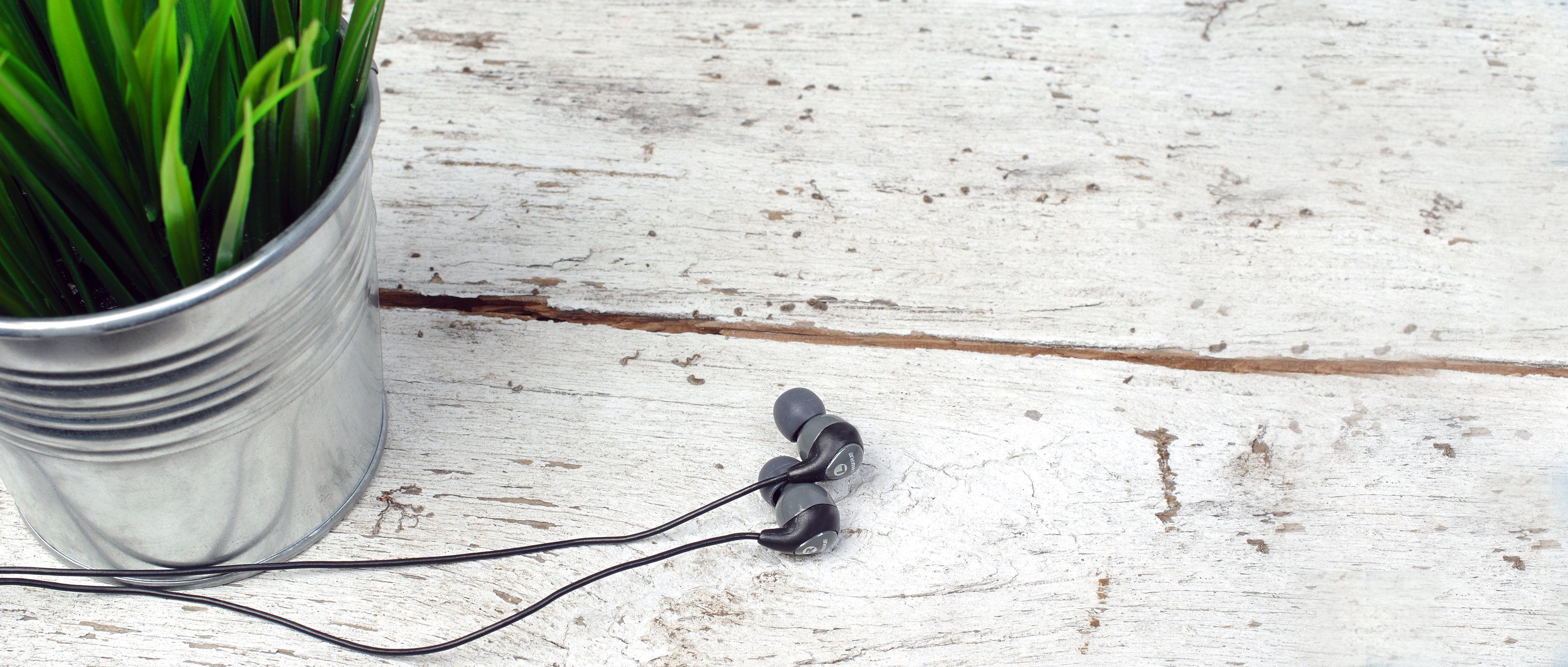 The Shure SE112 in-ear headphones