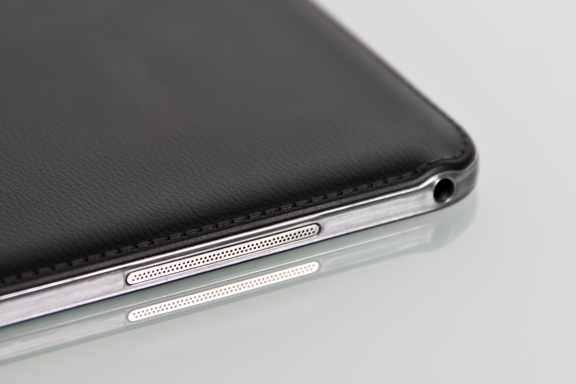 "A close-up of the headphone jack of the Samsung Galaxy Note Pro 12.2""."