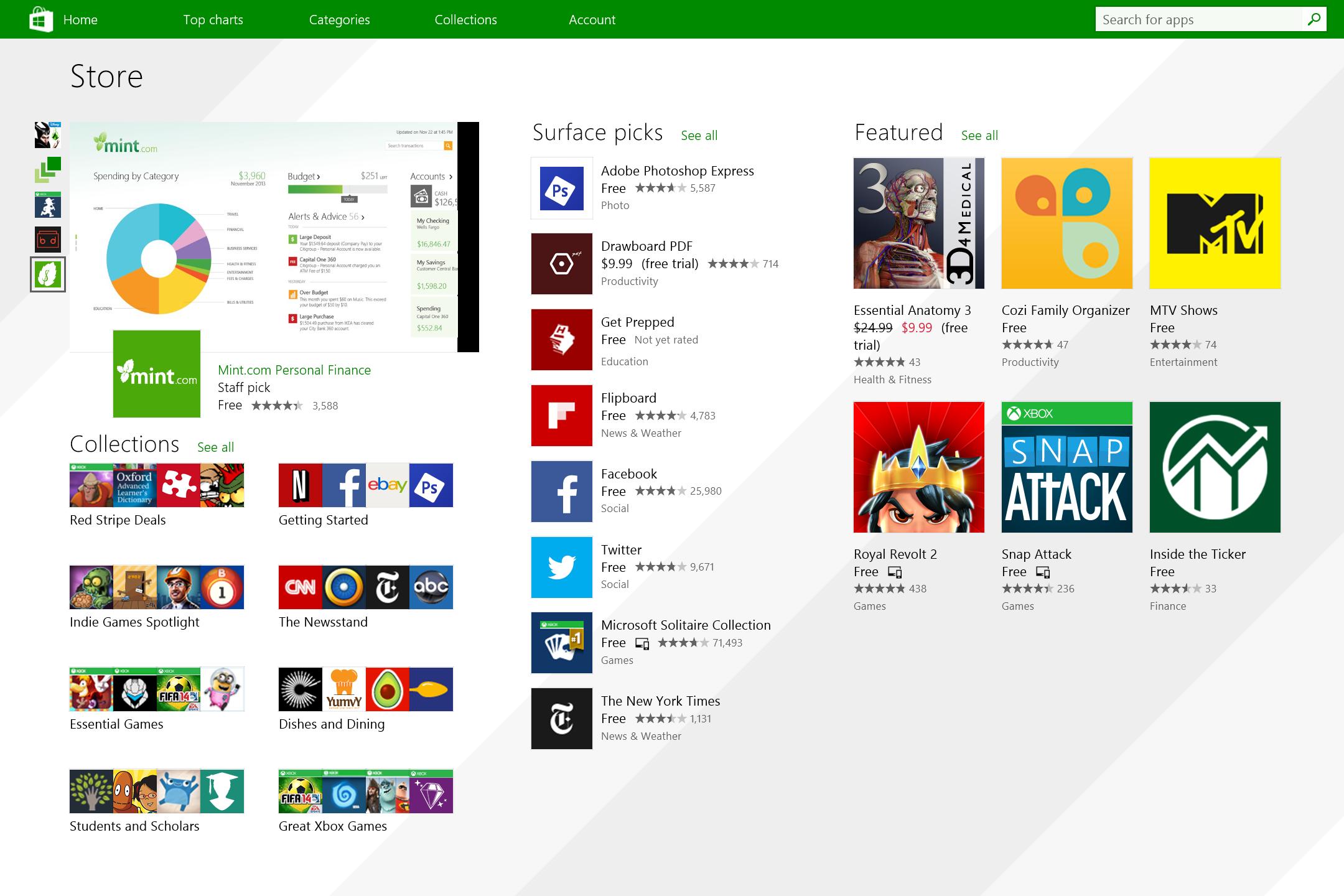 A screenshot of the Microsoft Surface 3's bundled software.
