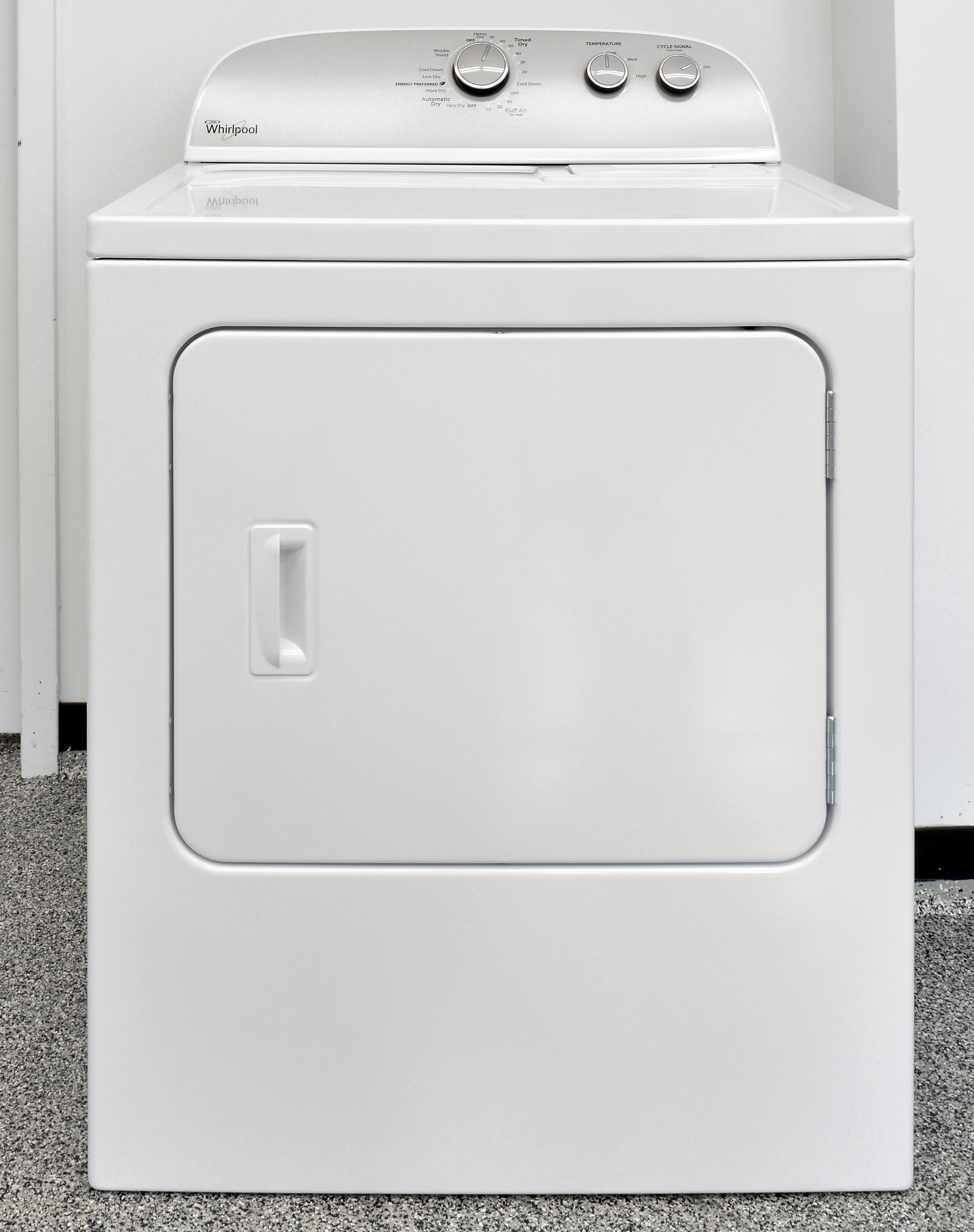 A standard white good, the basic Whirlpool WED4815EW is as straightforward as it gets.