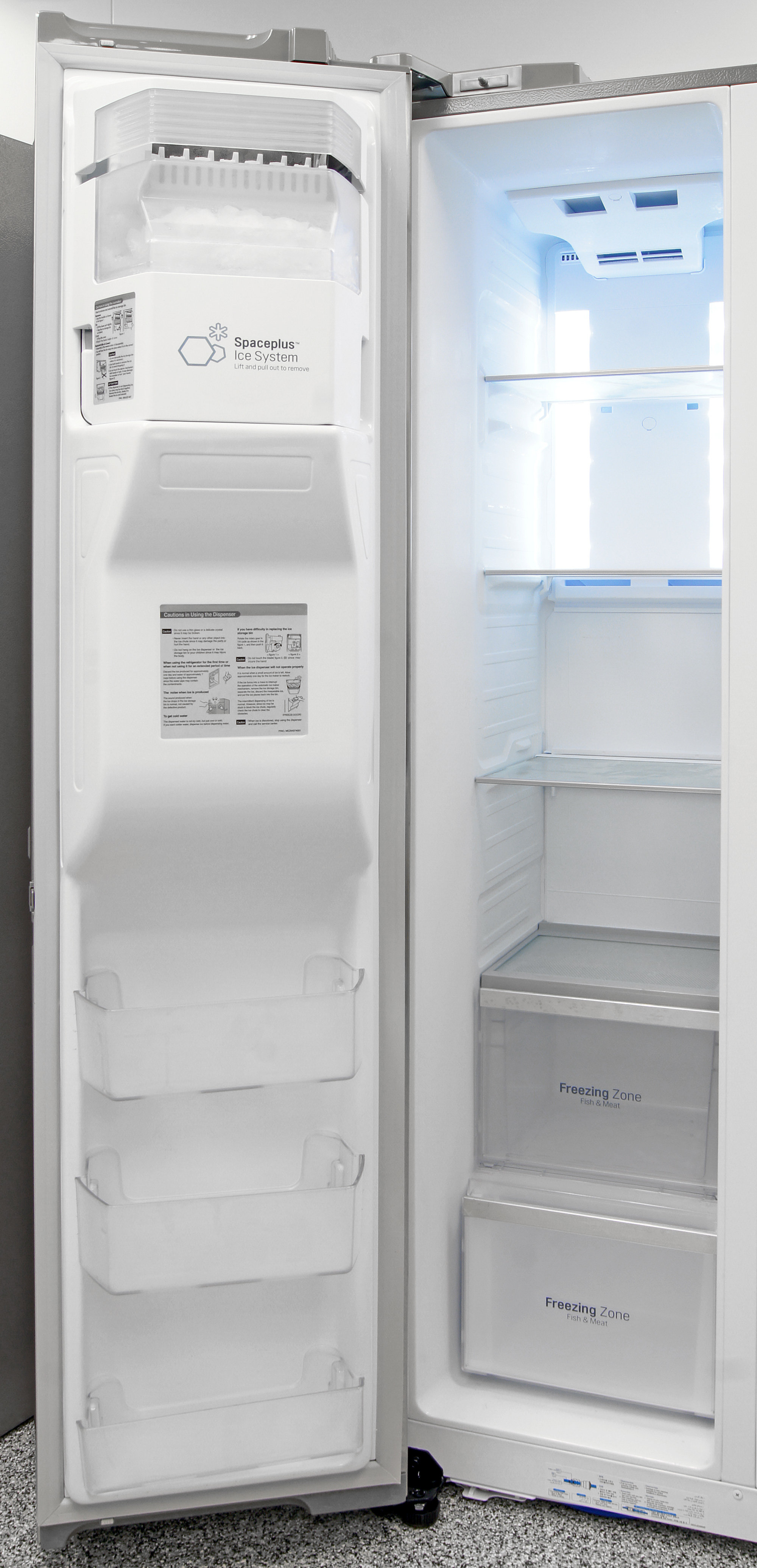 The LG LSC22991ST's freezer uses its limited space and traditional layout quite well.
