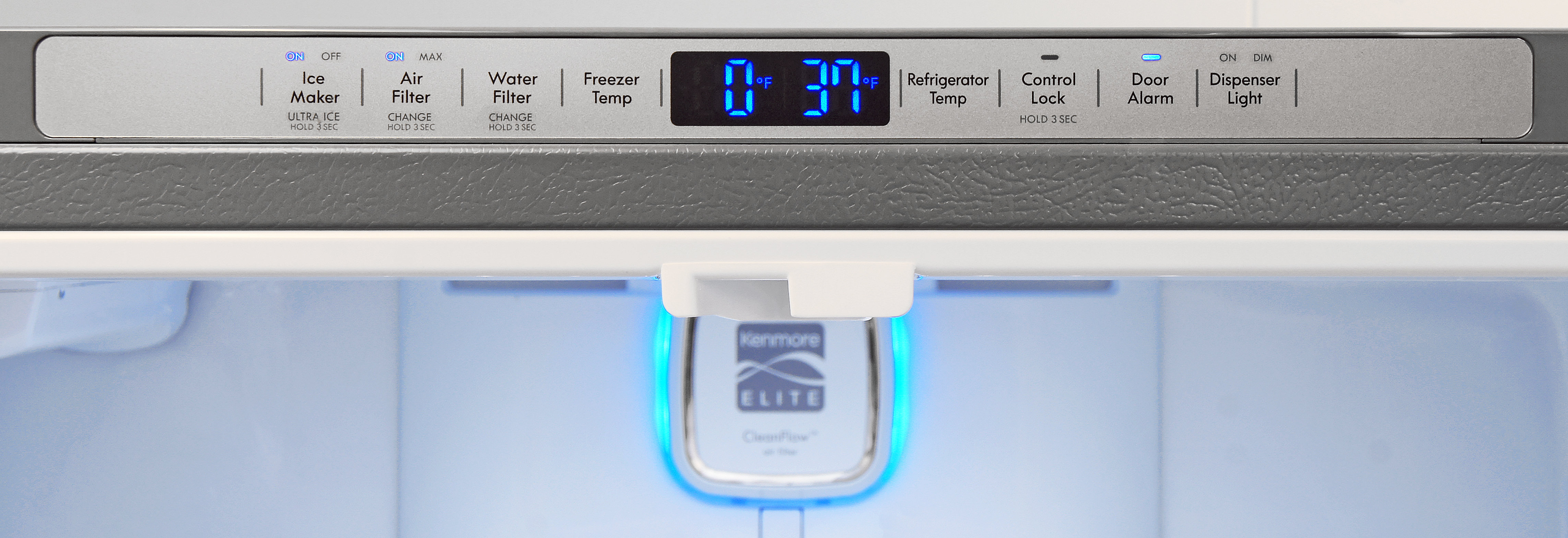Controls for the Kenmore Elite 72483 are kept along the top edge of the main fridge compartment's frame.