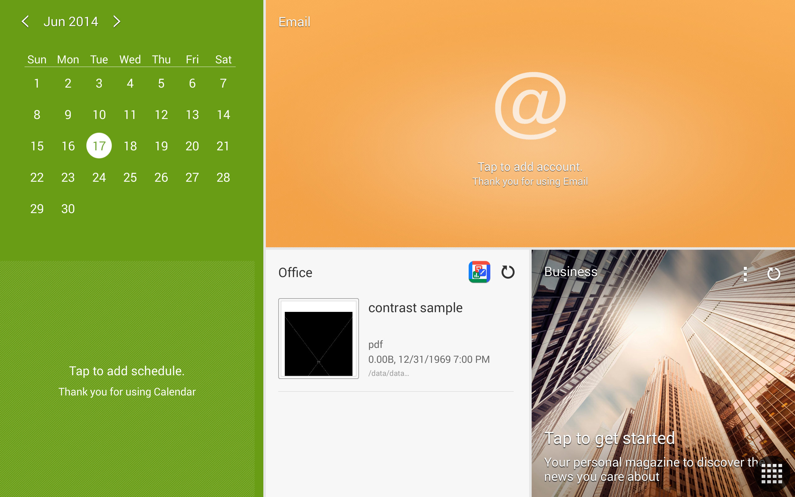 A screenshot of the Samsung Galaxy Note Pro's calendar screen.
