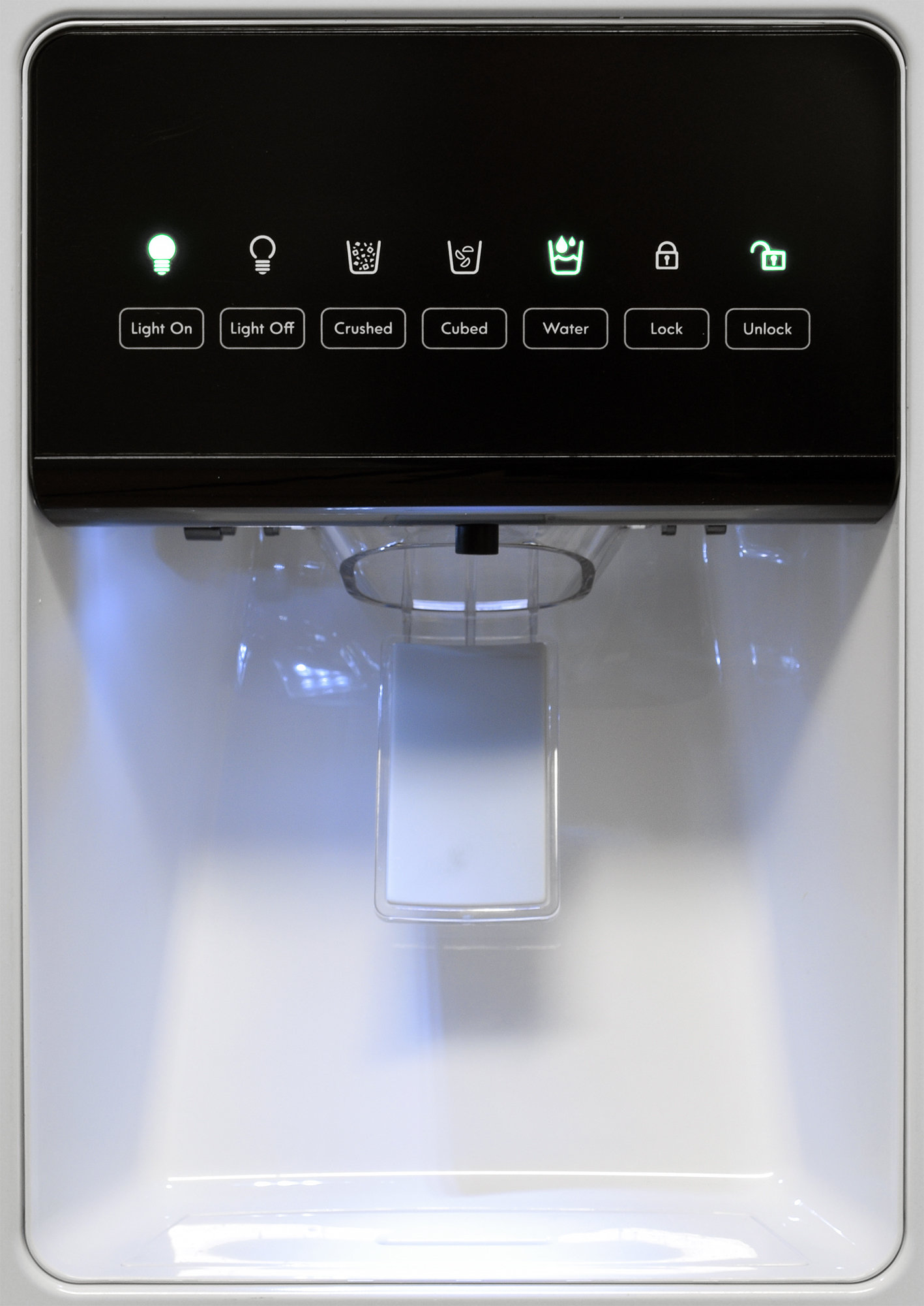 The Kenmore 51122's external dispenser only controls ice and water output; all other controls are inside the fridge.