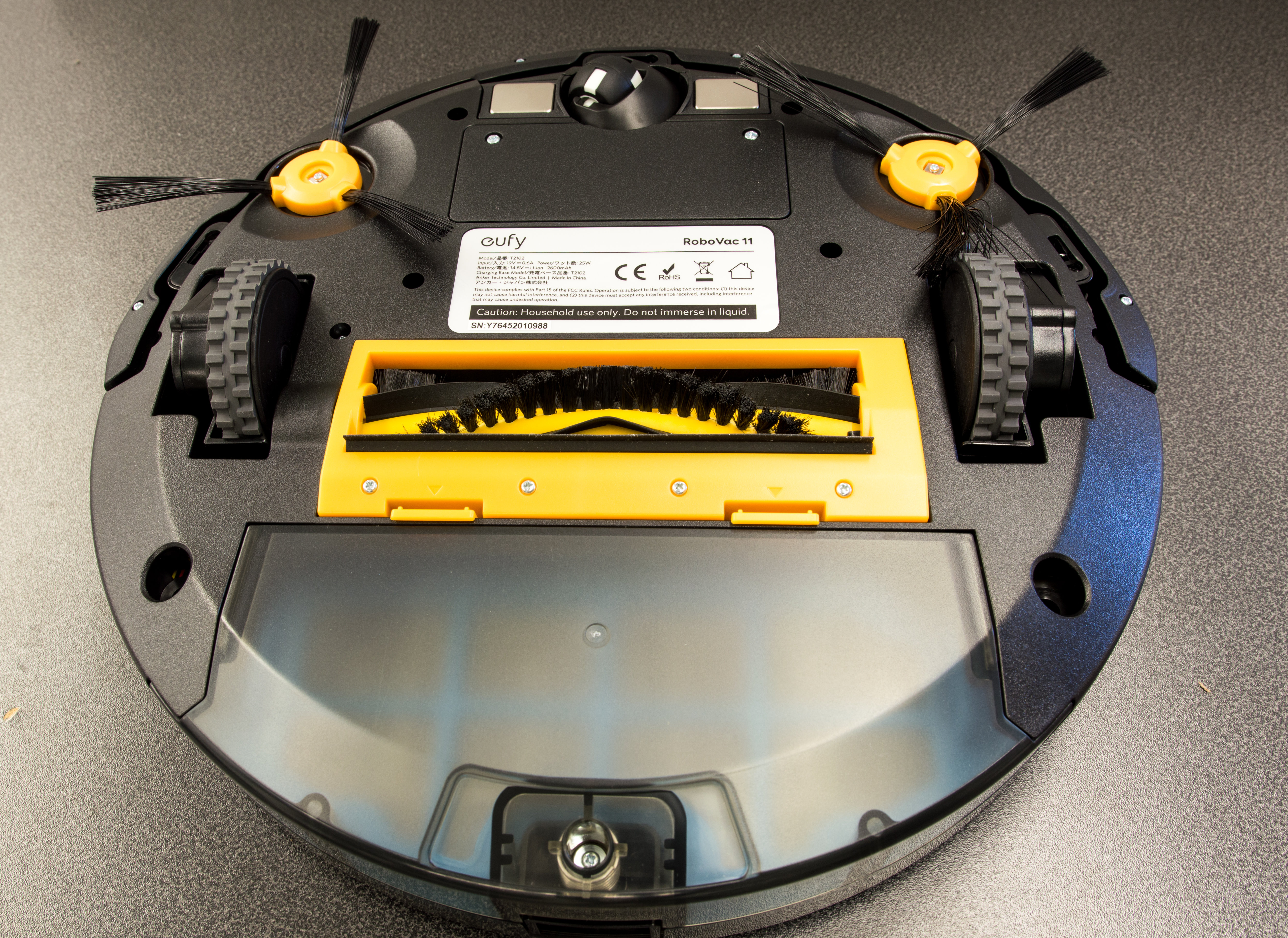 The RoboVac 11 uses a three-point system to get at dirt.