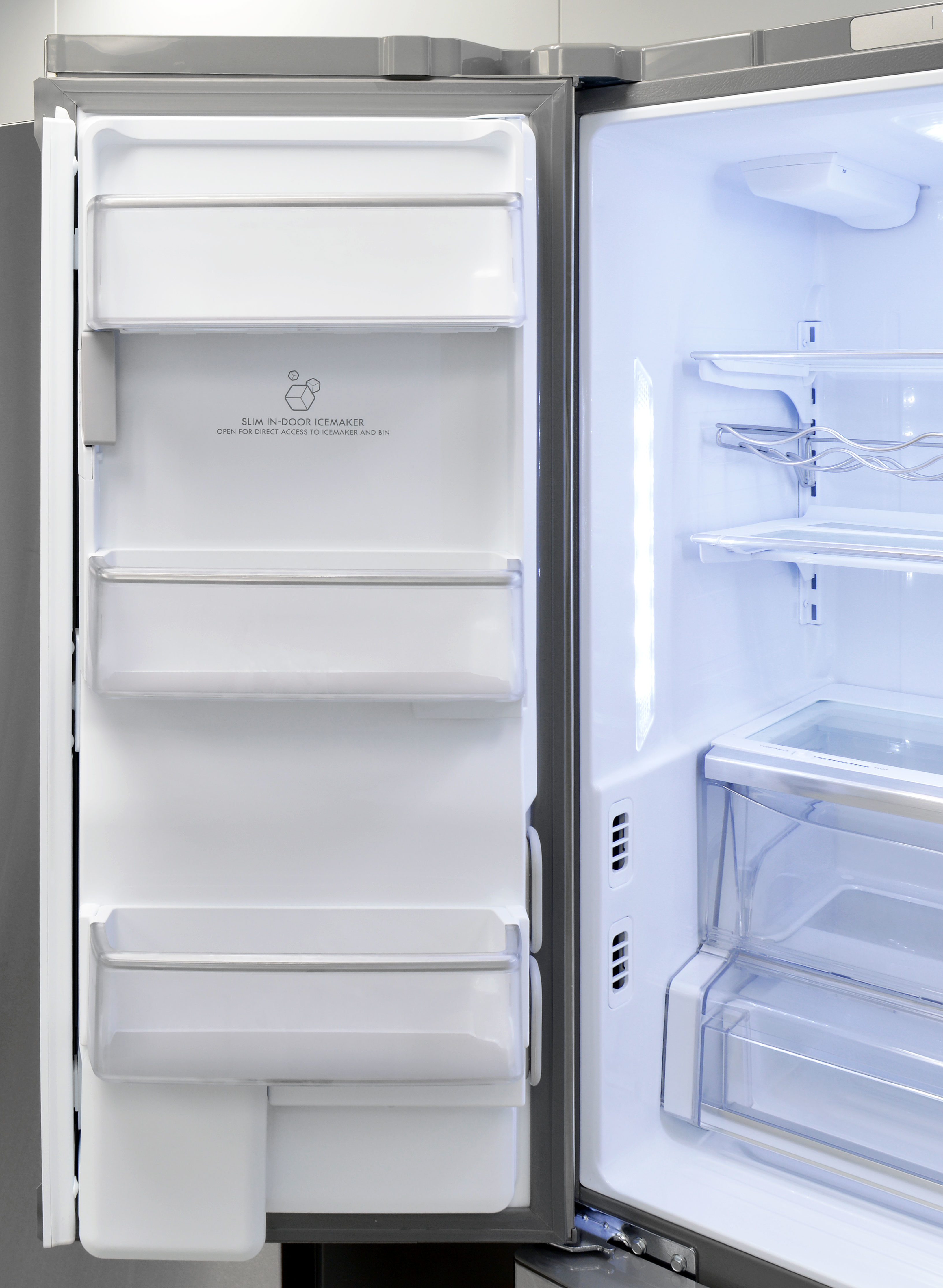The Kenmore Pro 79993's left fridge door is home to both the ice maker and three shallow shelves.