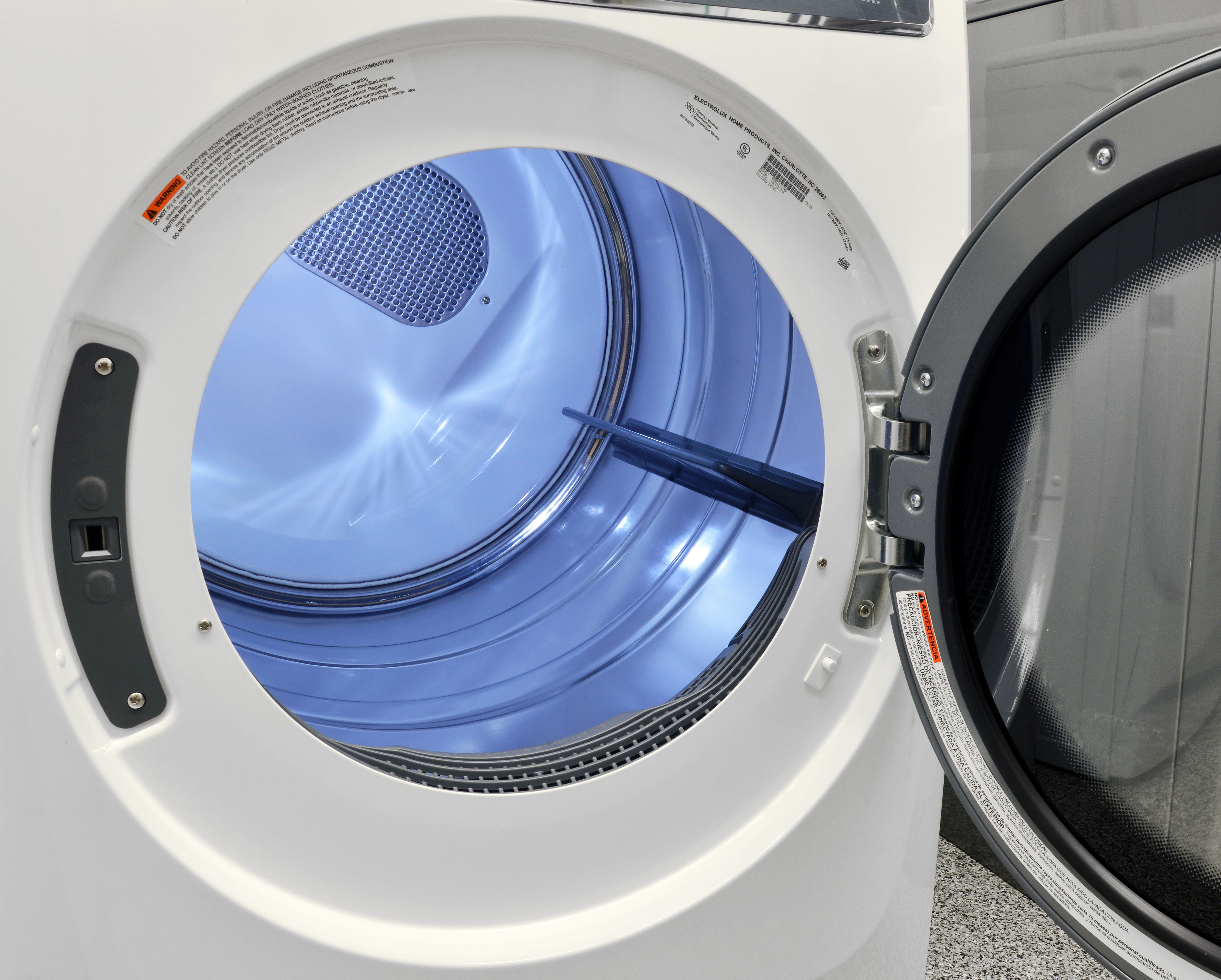 The Electrolux EFME617SIW's 8-cu.-ft. stainless steel drum has built-in LED lighting that makes it easy to find missing clothes.