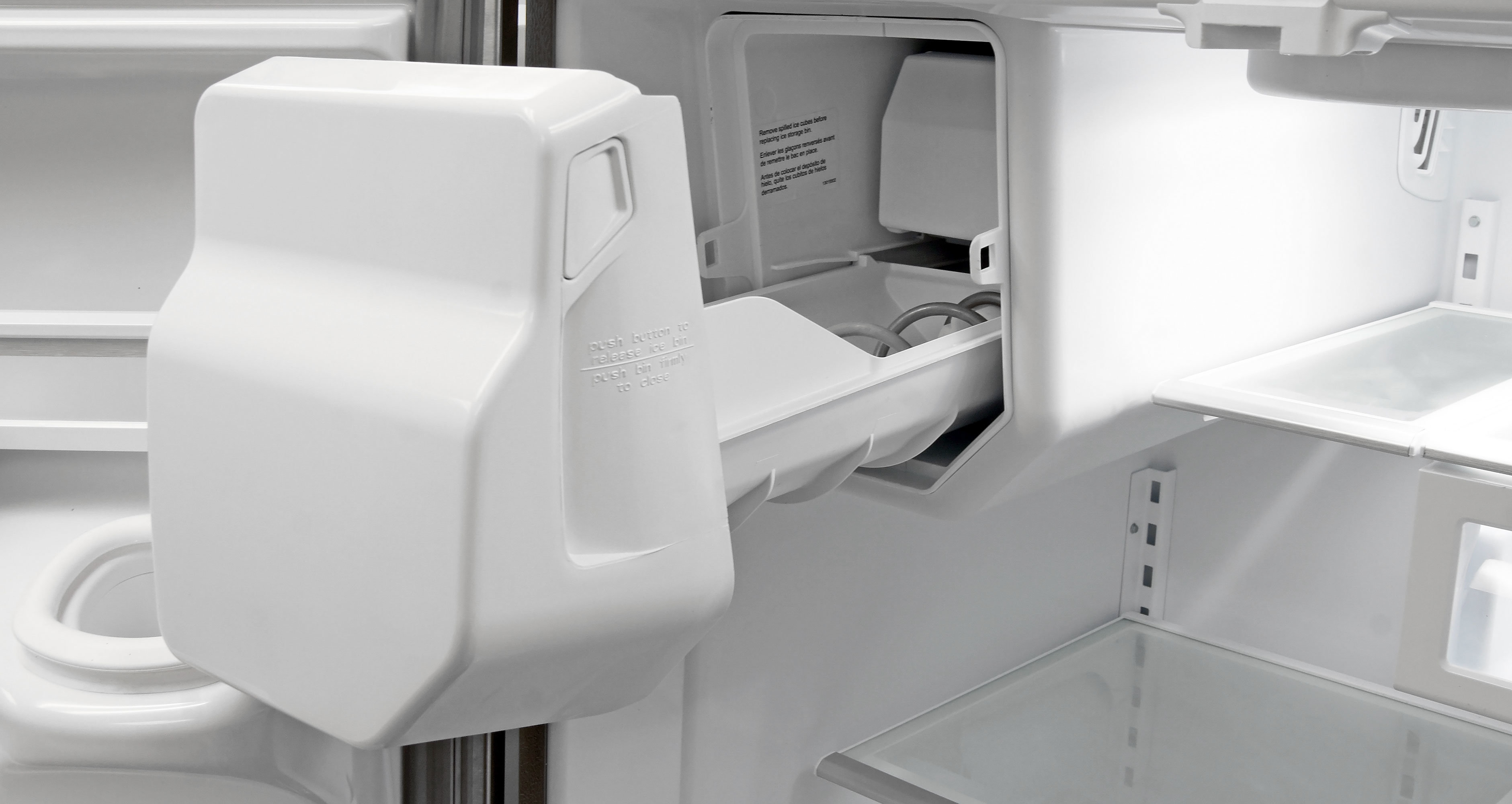 The icemaker is large and unwieldy, a mark of the KitchenAid KFXS25RYMS's affordability.