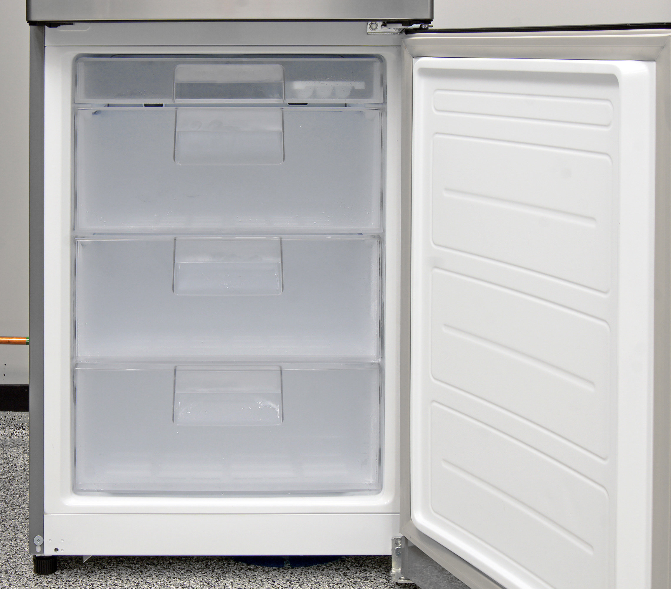 As with most compact bottom fridges, the LG LBN10551PV's freezer has several drawers and no door storage.