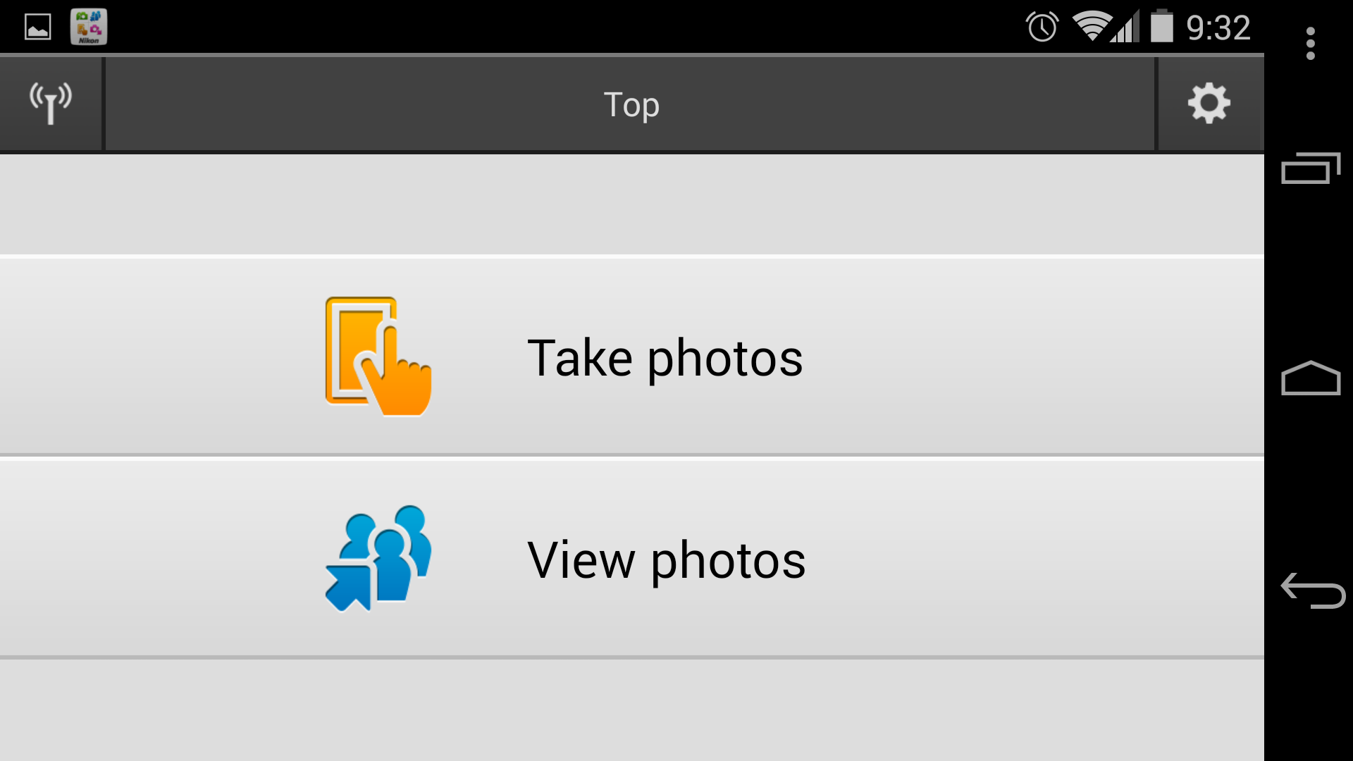 A screenshot of the Nikon 1 J4's main menu screen in the Wireless Mobile Utility app.