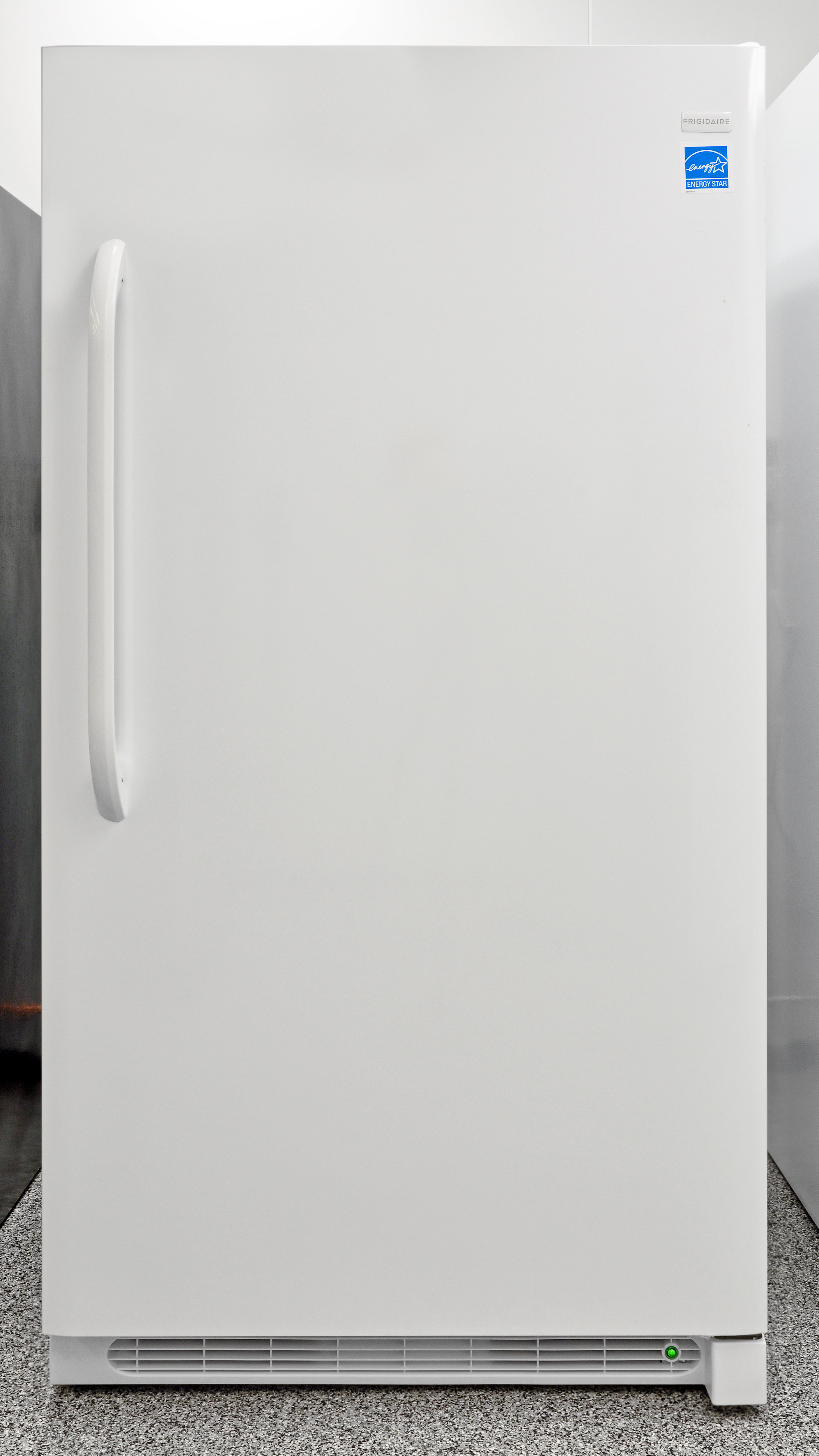 From the front, the Frigidaire FFFH17F2QW is just a large white expanse of glossy plastic.