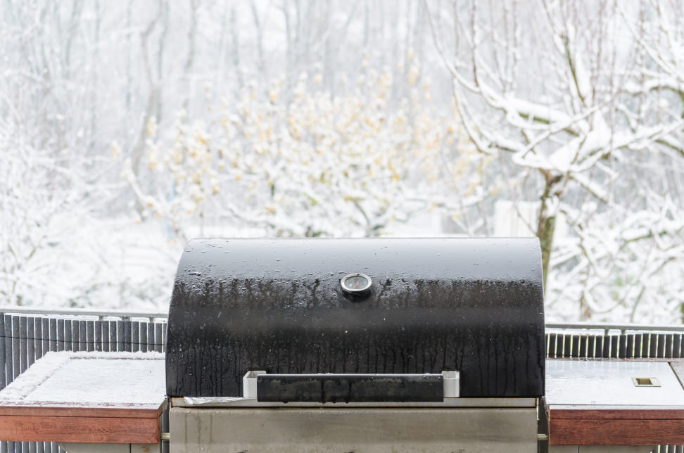 Grill outdoors in snow