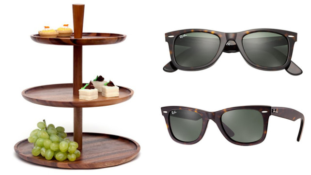 Wooden Tiered serving tray and Ray-Ban Wayfarer sunglasses