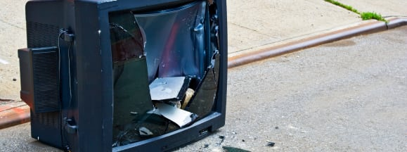 Broken tv trash