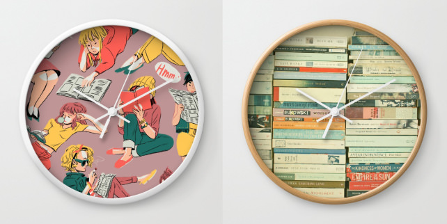 Bookish wall clocks
