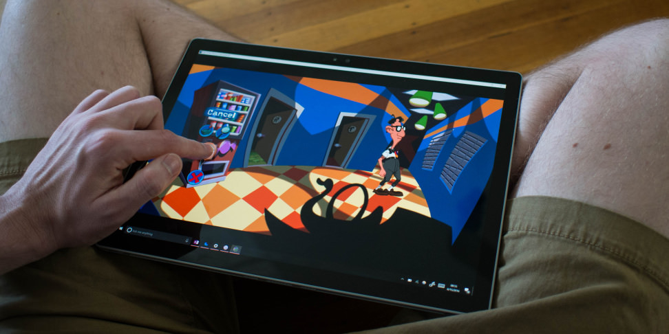 Microsoft Surface Book Playing a Game