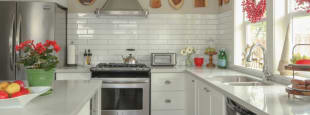 Maria killam red accents kitchen